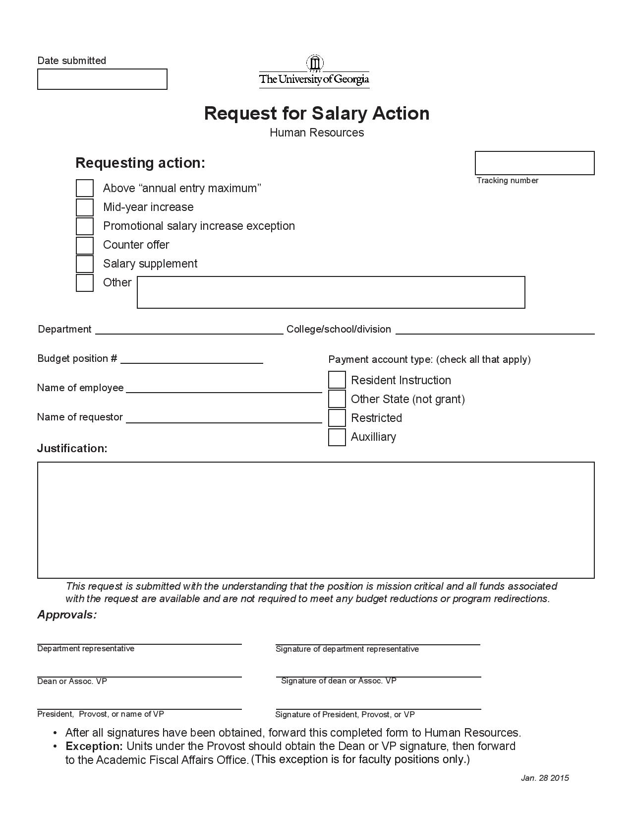 request for salary action form page 001