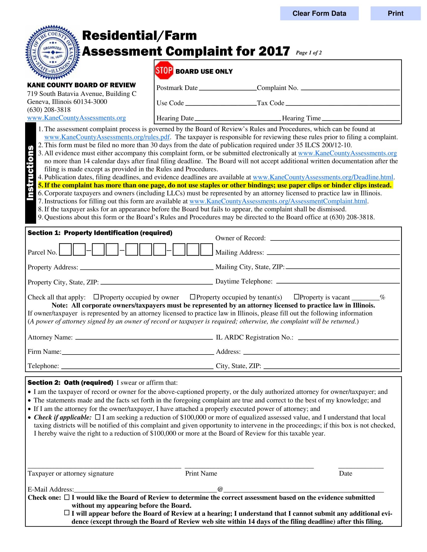 residential assessment complaint form 1