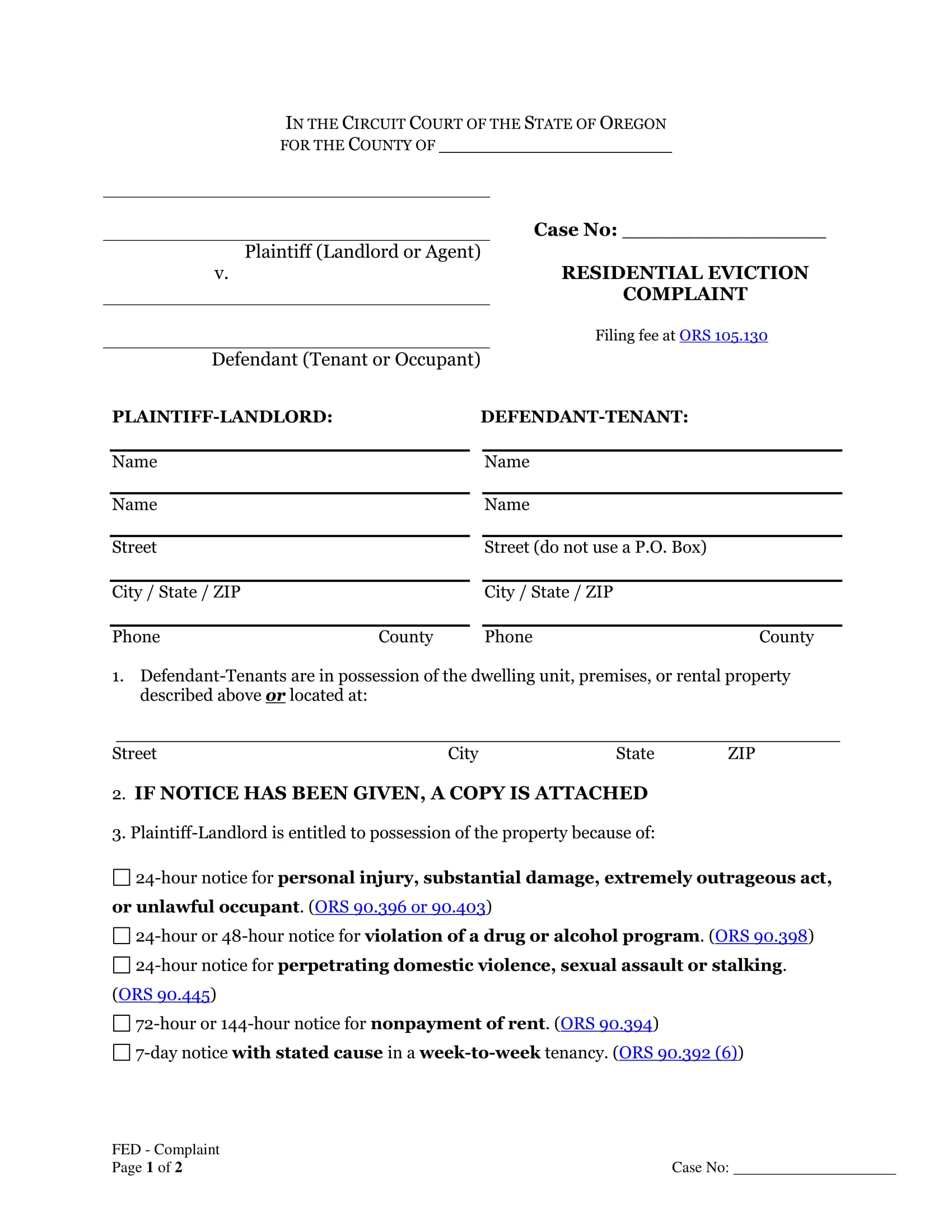 residential eviction complaint form 1
