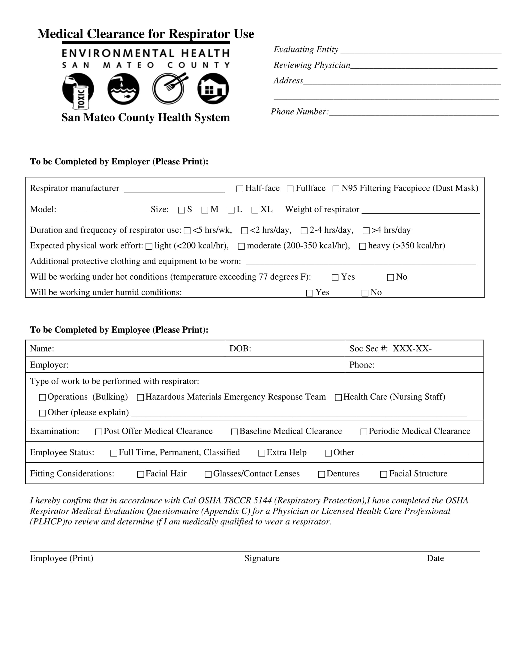 respirator use medical clearance form 1