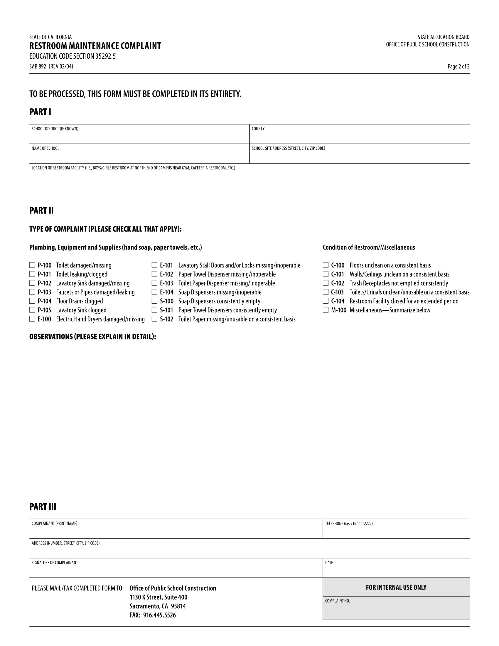 restroom maintenance complaint form 2