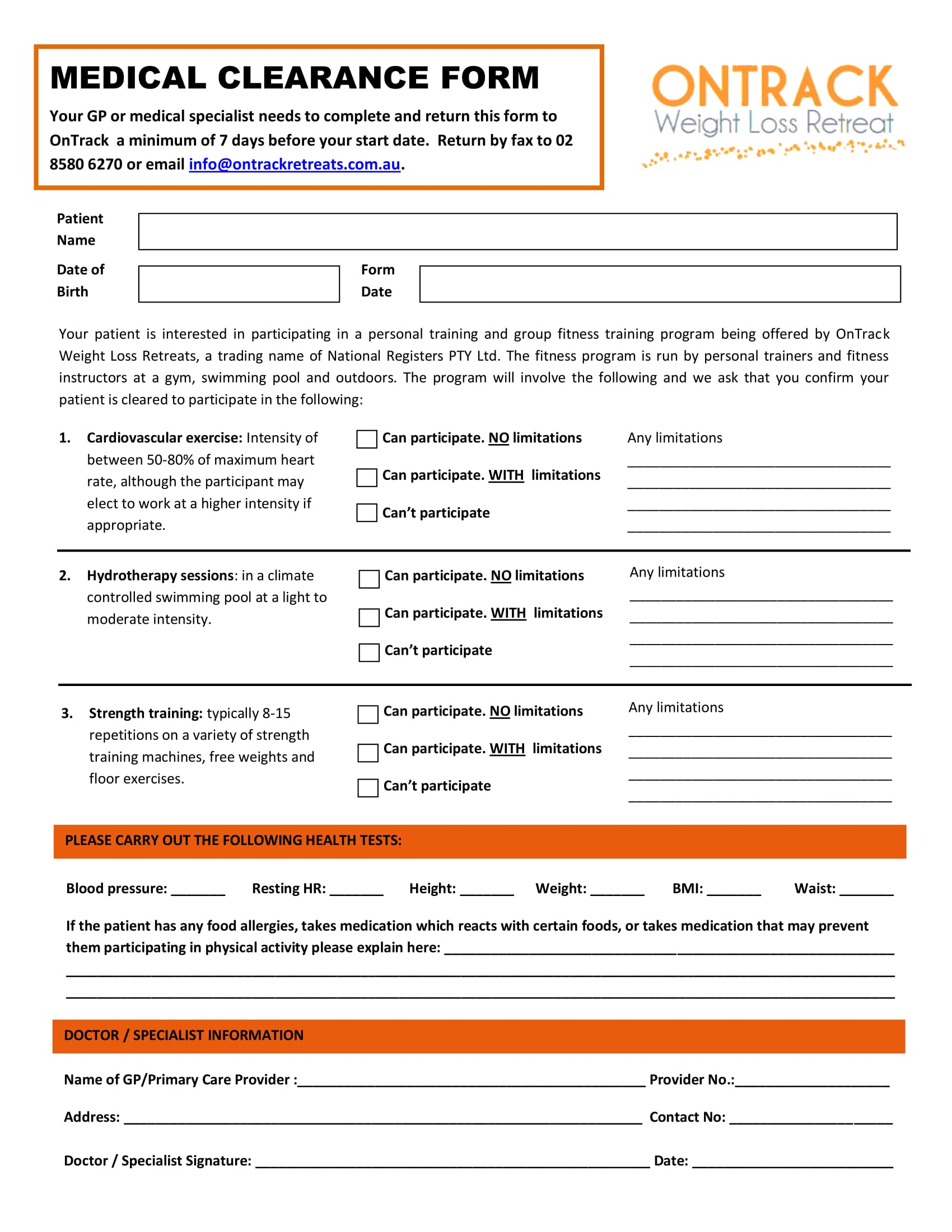 retreat medical clearance form 1
