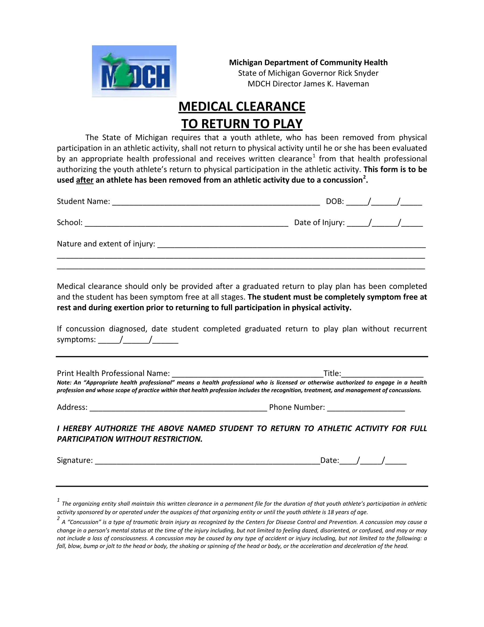 return to play medical clearance form 1