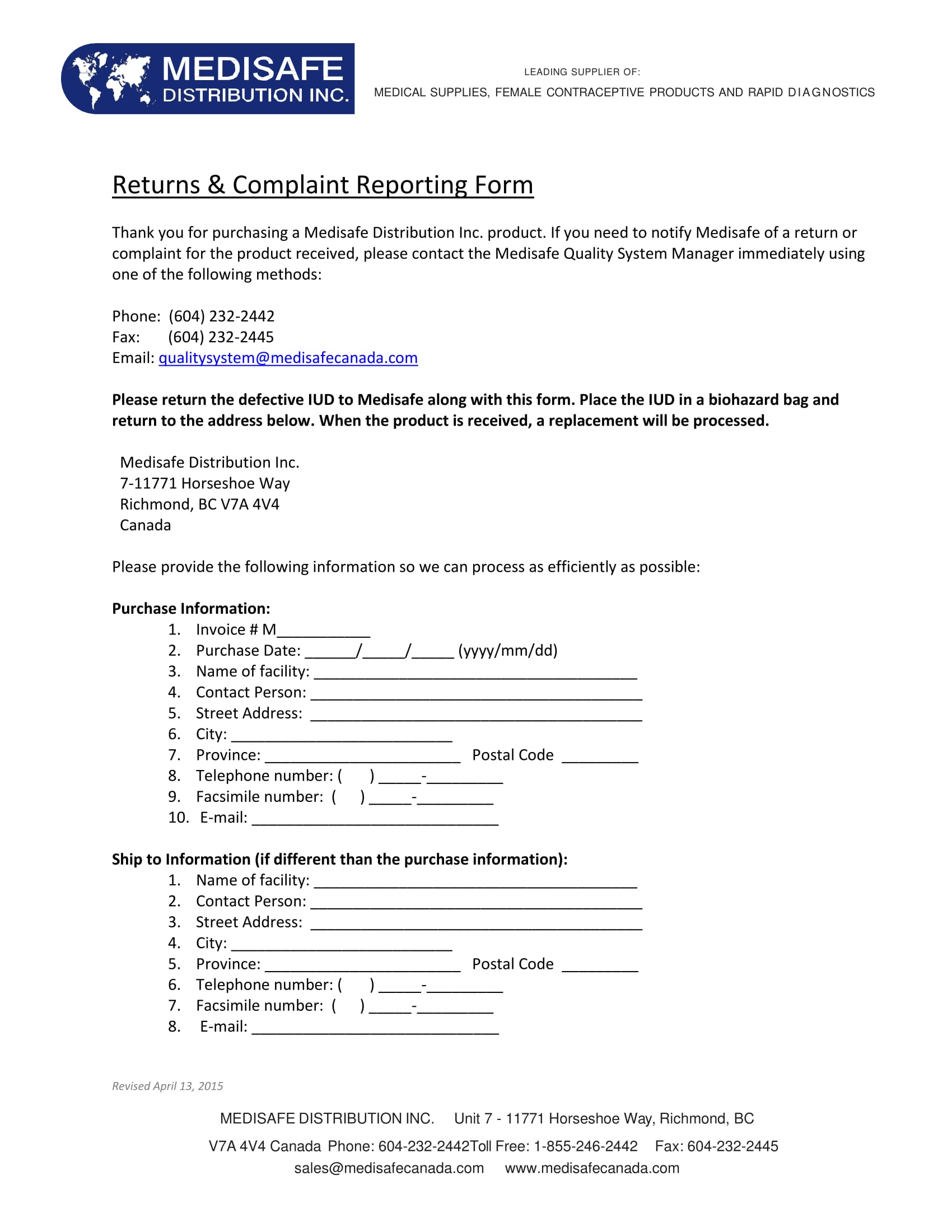 returns complaint reporting form 1