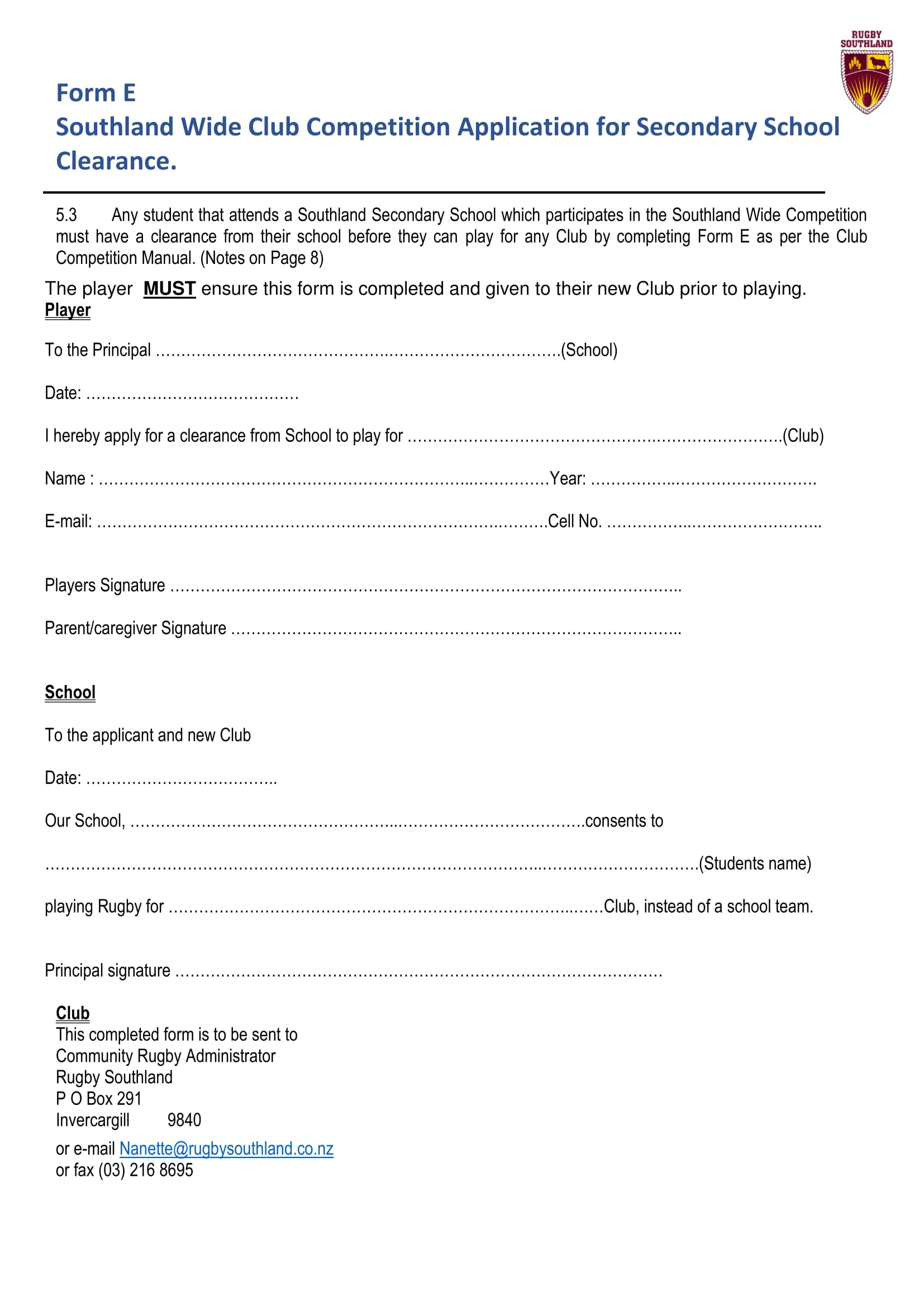 secondary school clearance application form 1