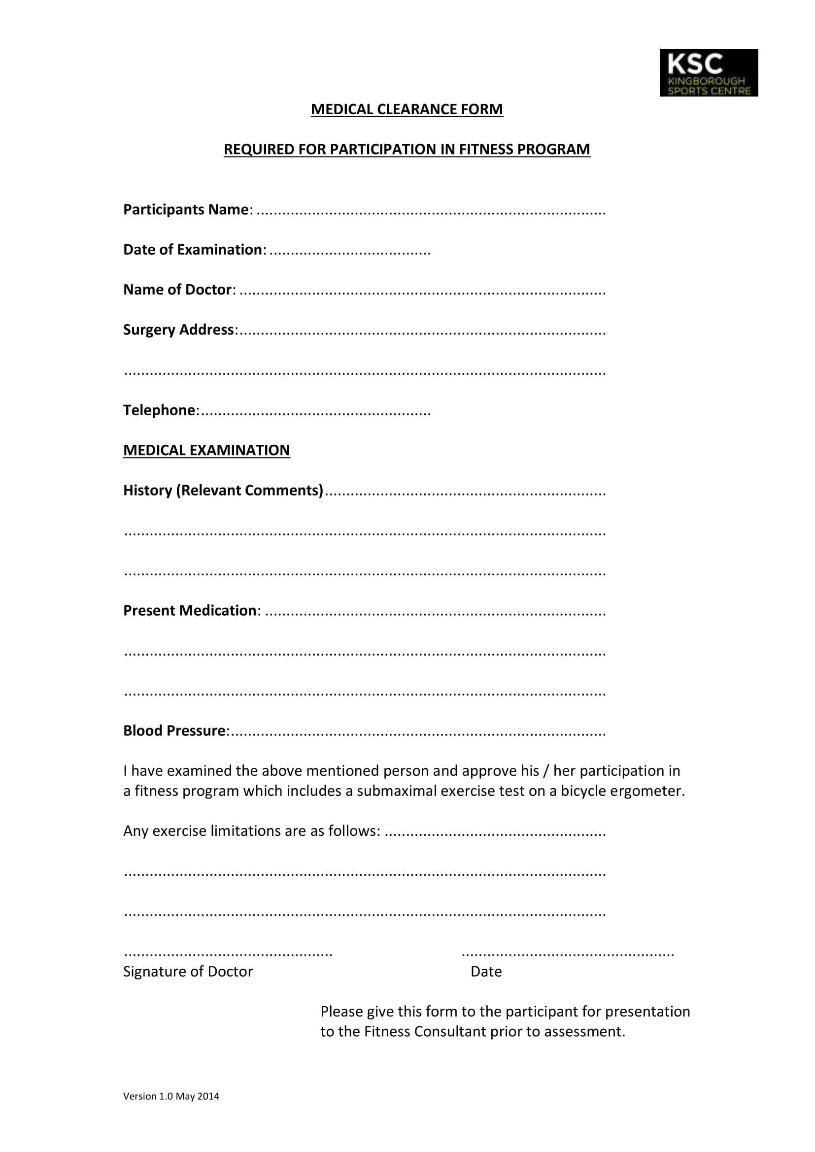sports center medical clearance form 1