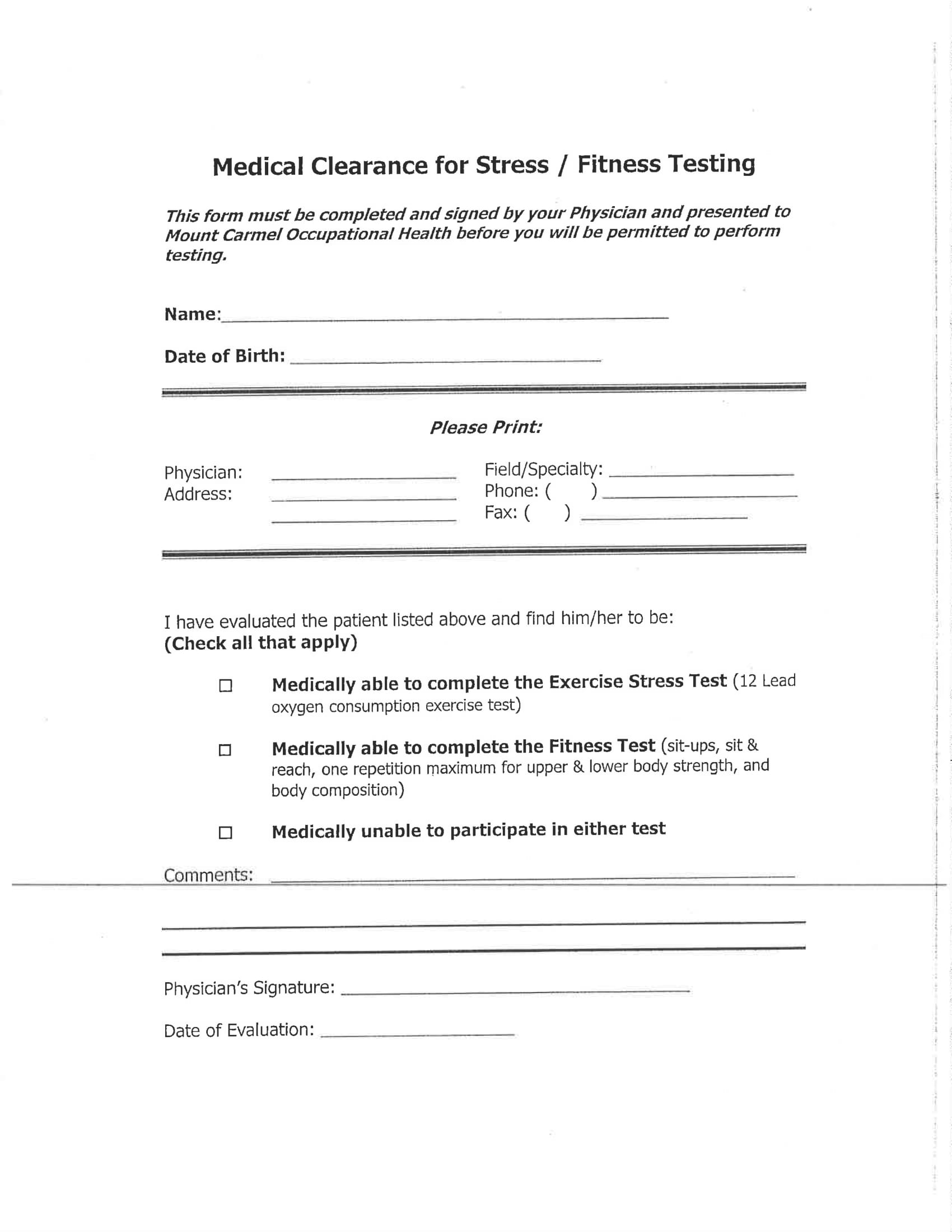 stress testing medical clearance form 1