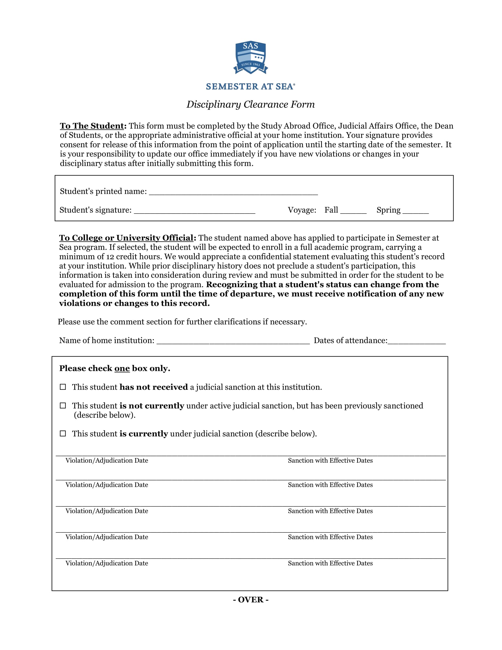 student disciplinary clearance form 1