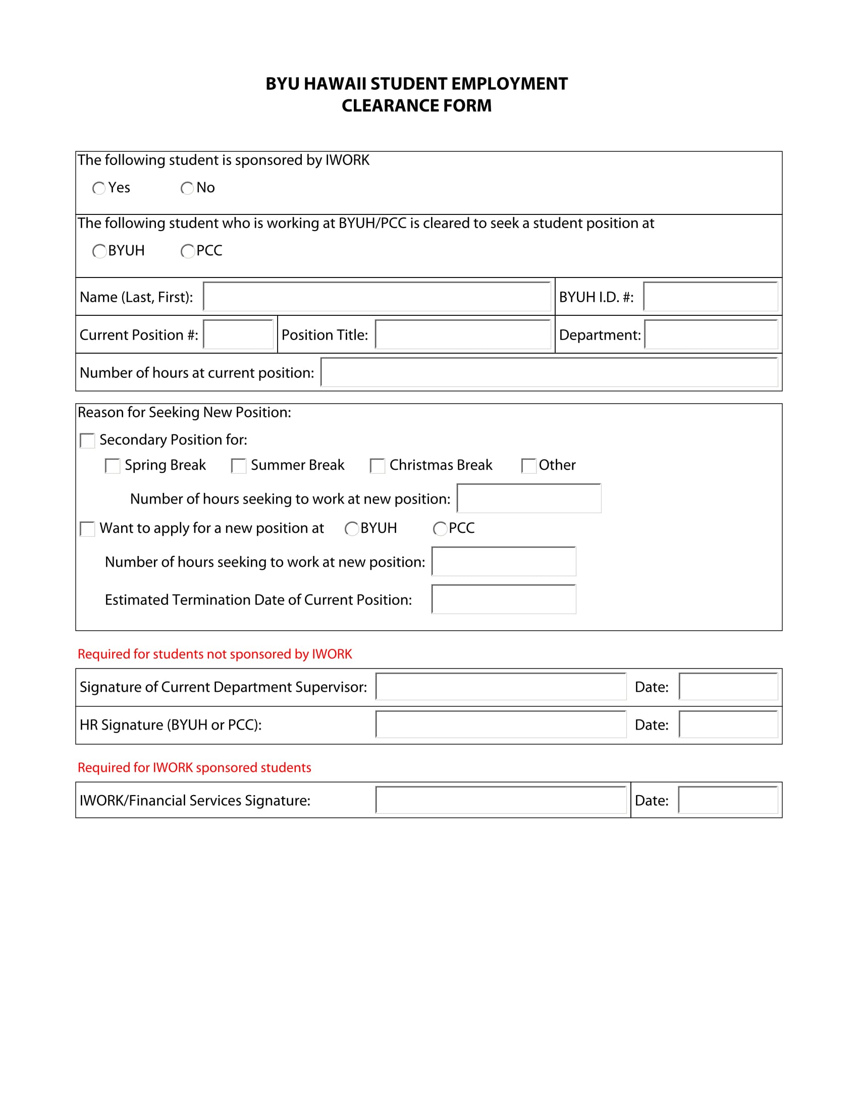 student employment clearance form 1