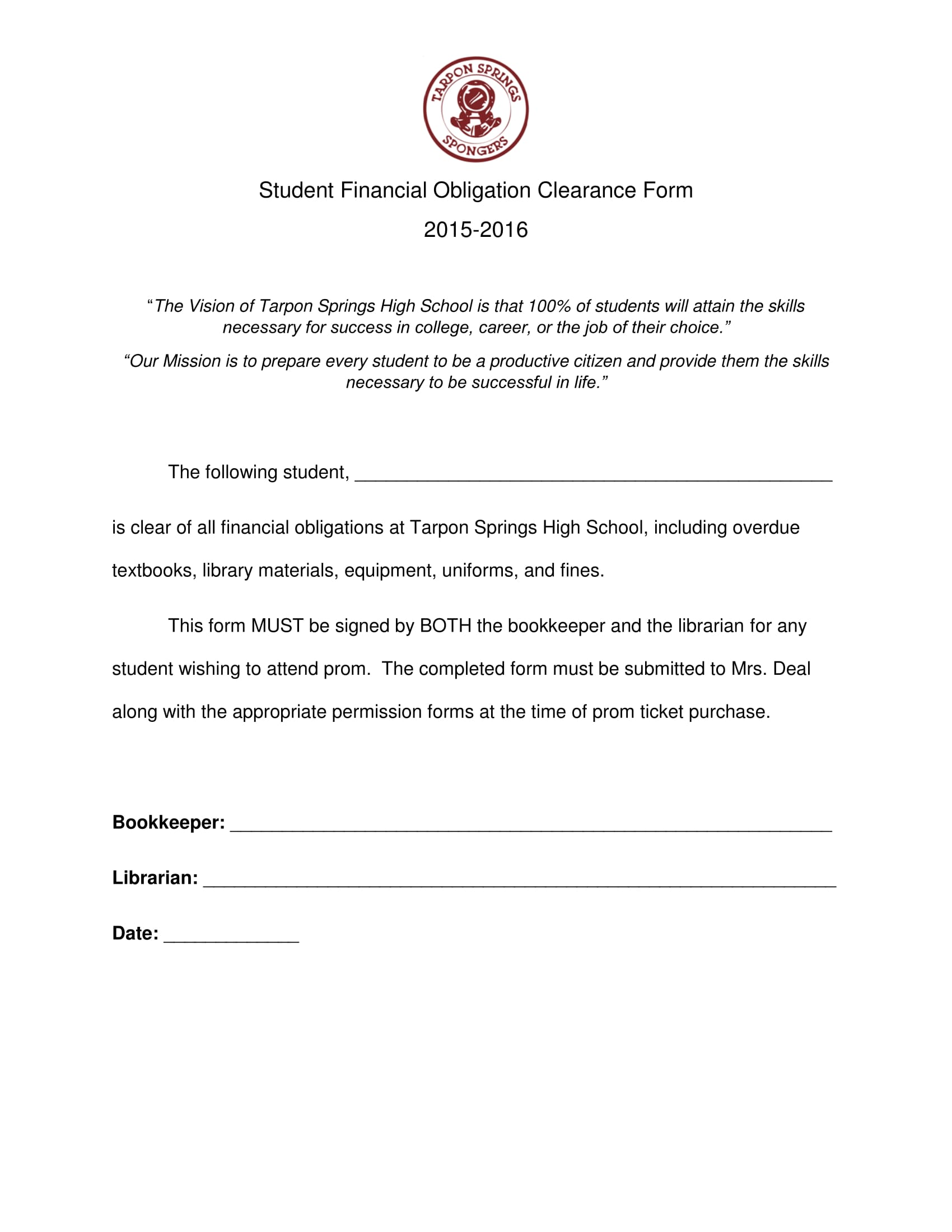 student financial obligation clearance form 1
