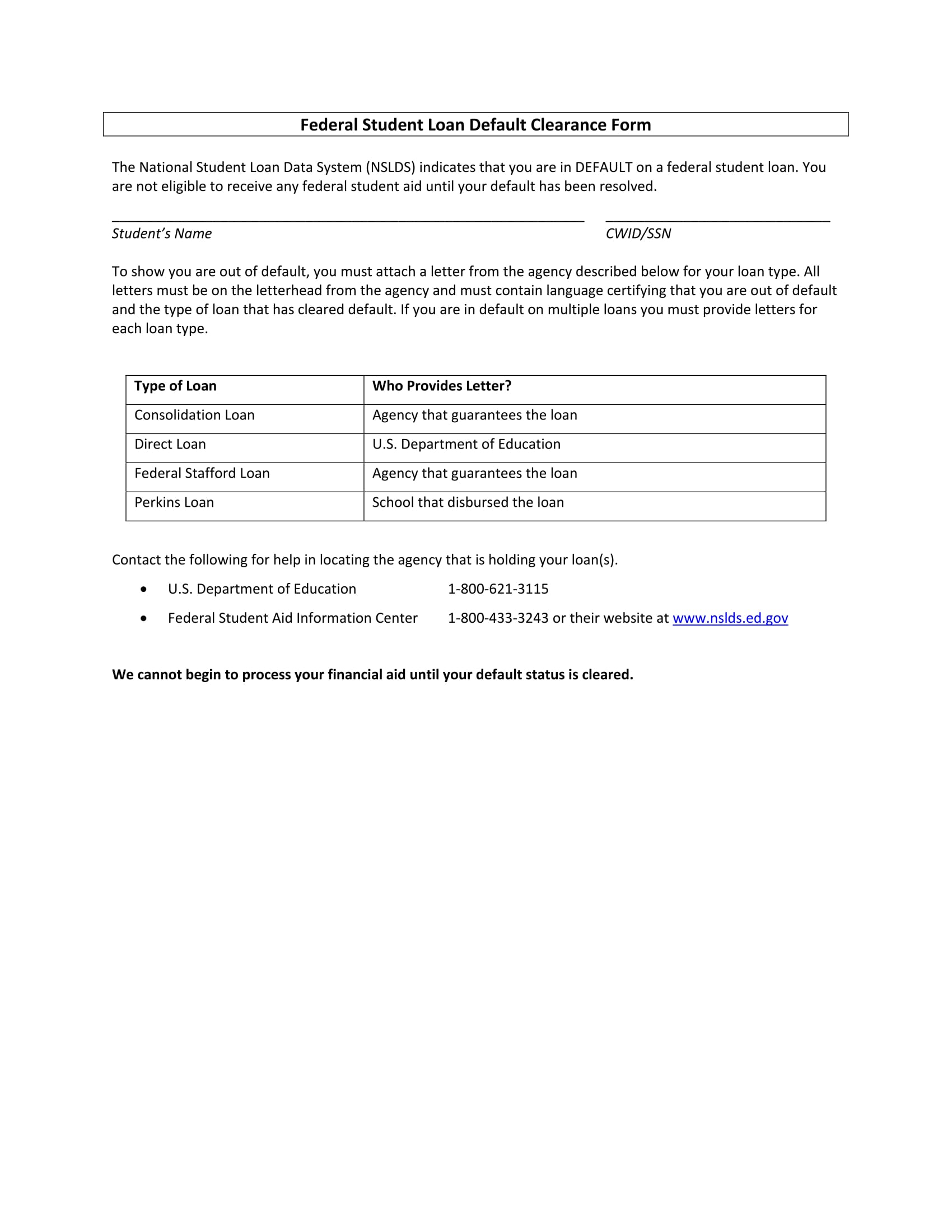 14 student clearance forms free word pdf format download for Mortgage default letter template