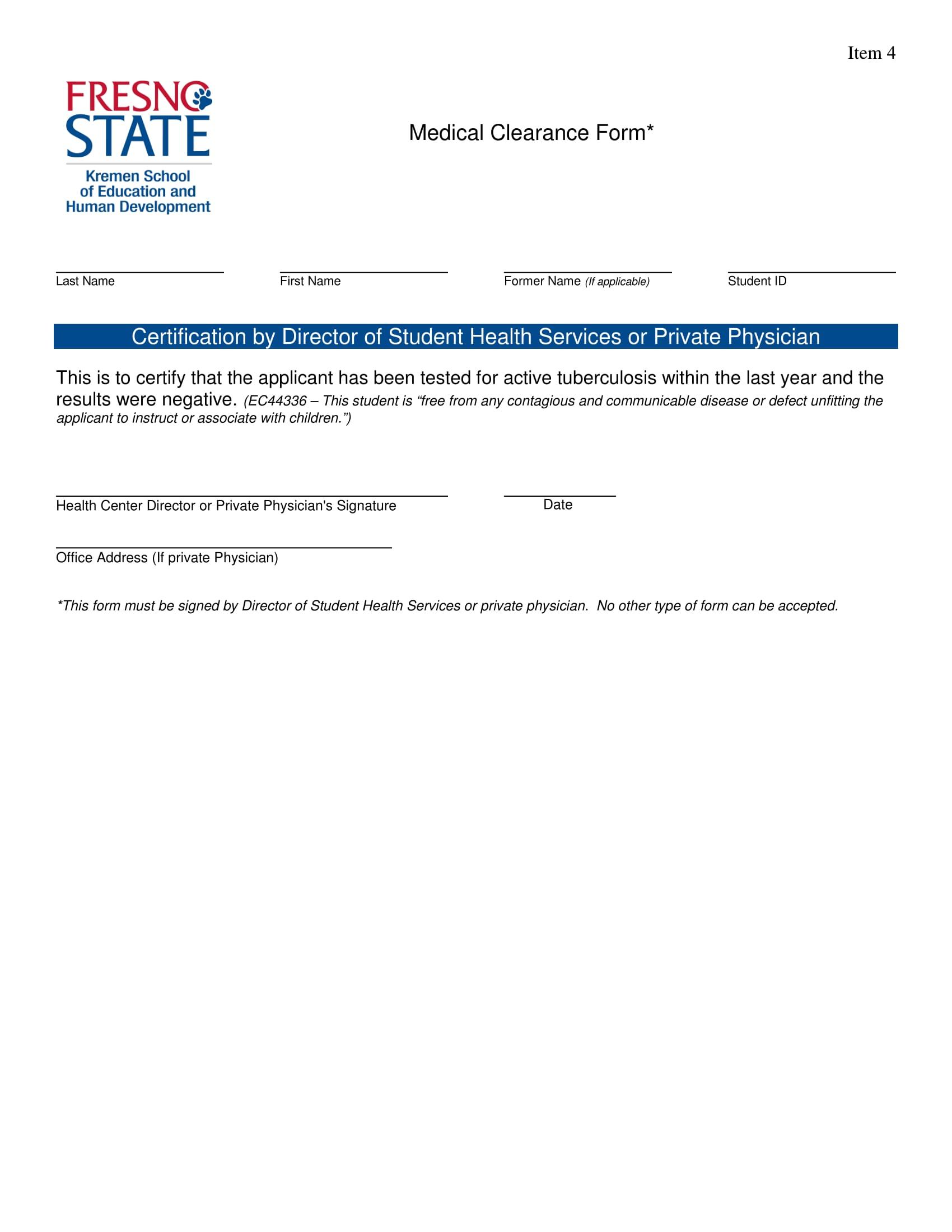 Sample Medical Clearance Form