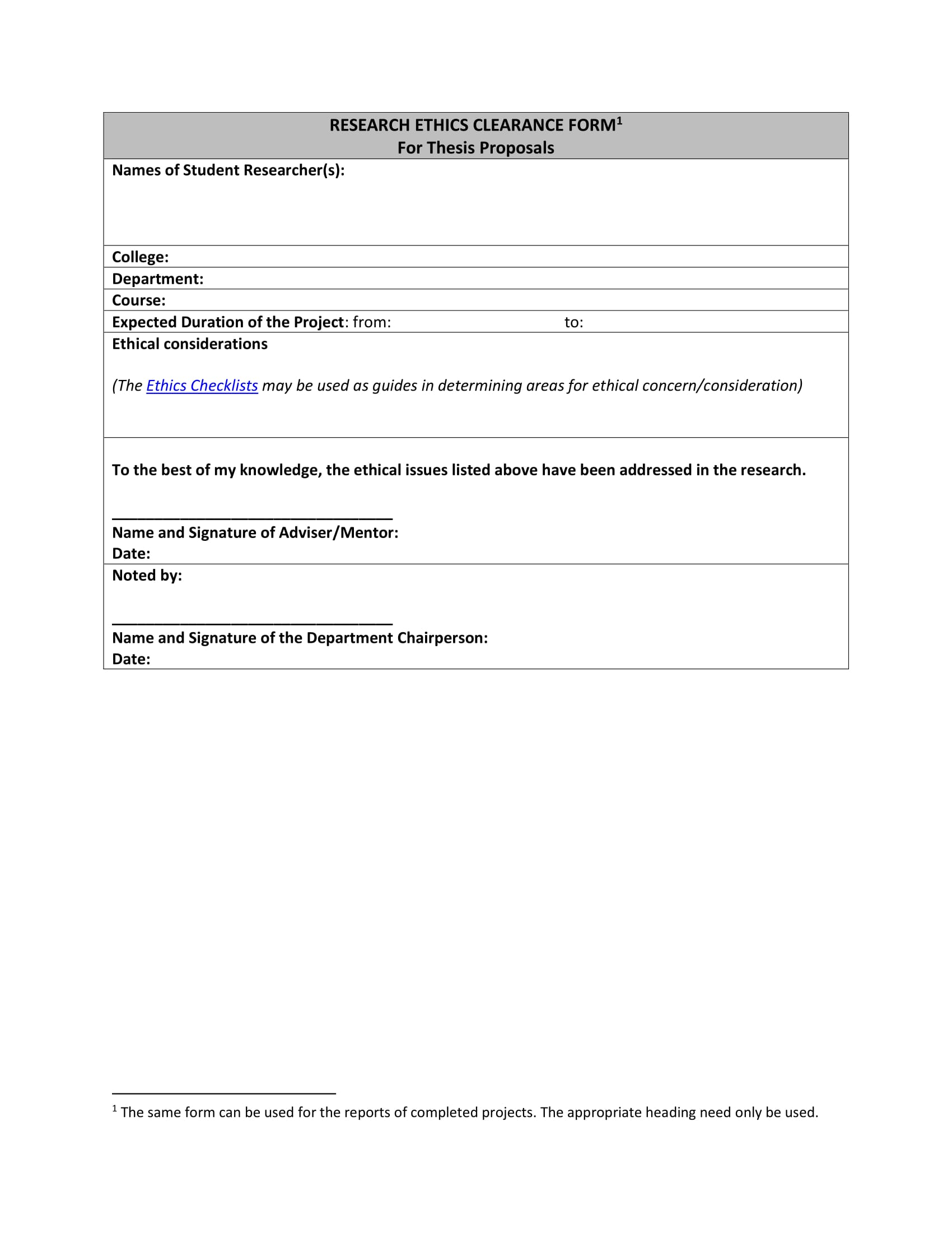 student research clearance form 1