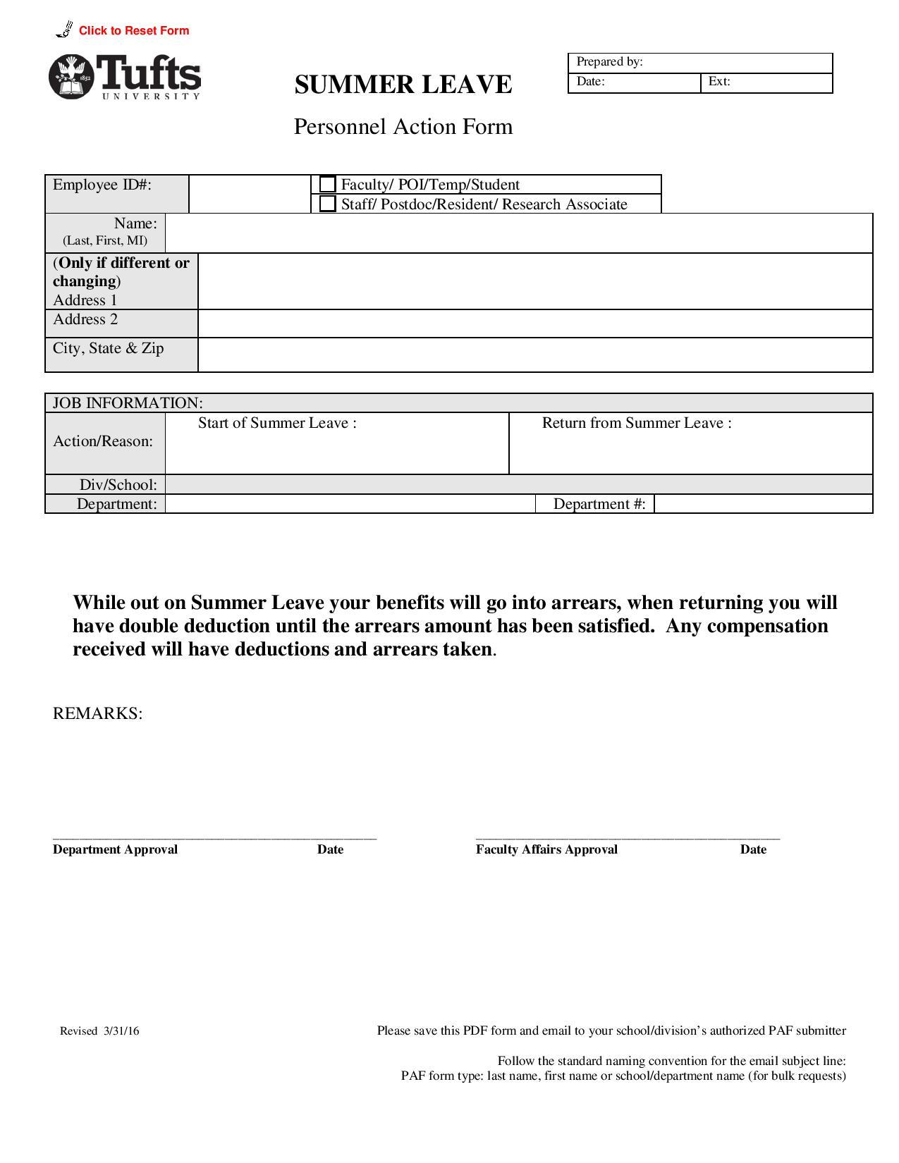 summer leave personnel action form