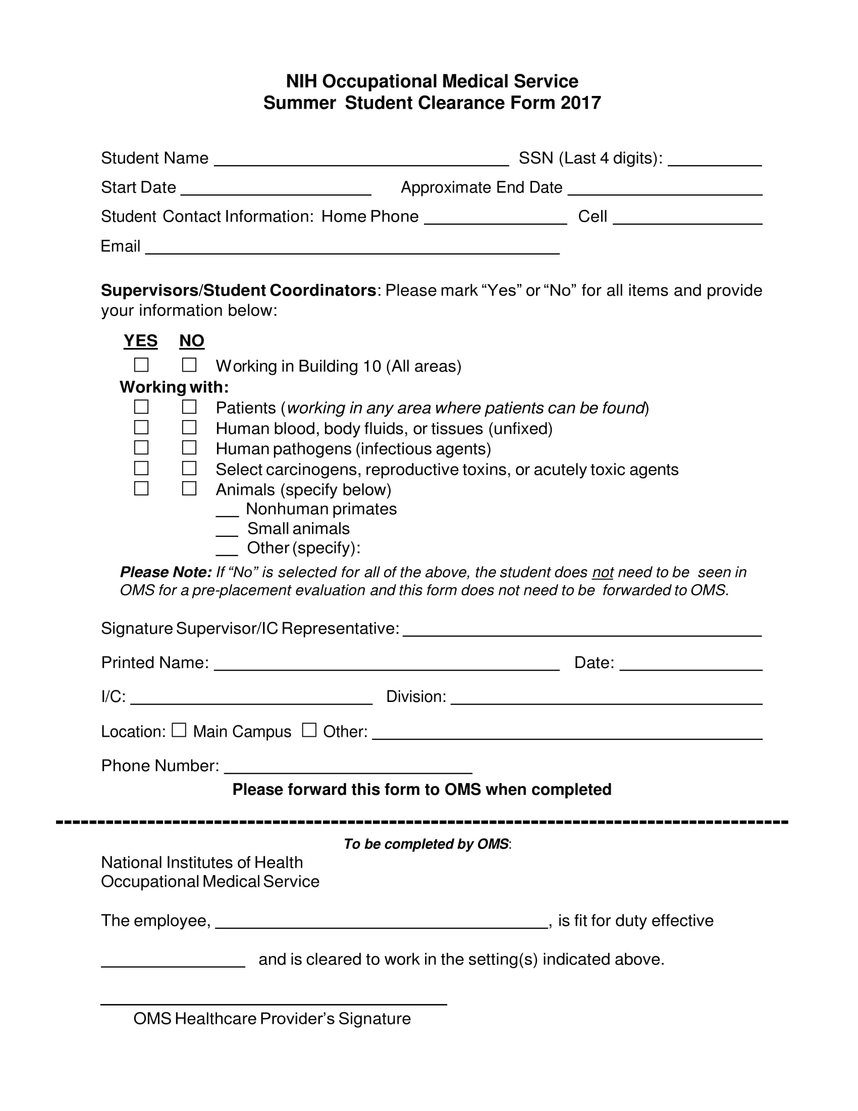 summer student clearance form 1