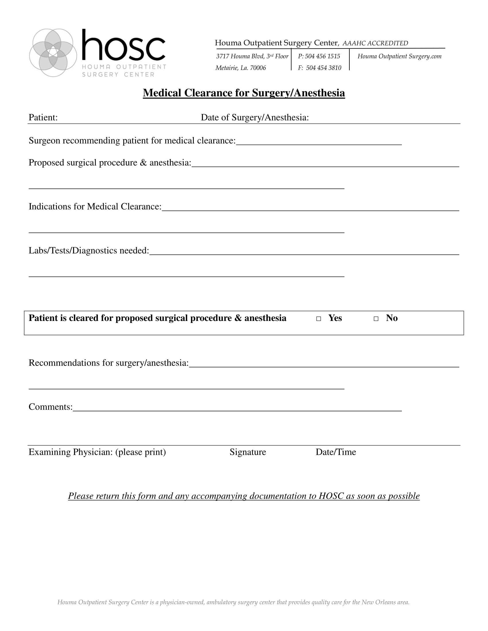surgery anesthesia medical clearance form 1