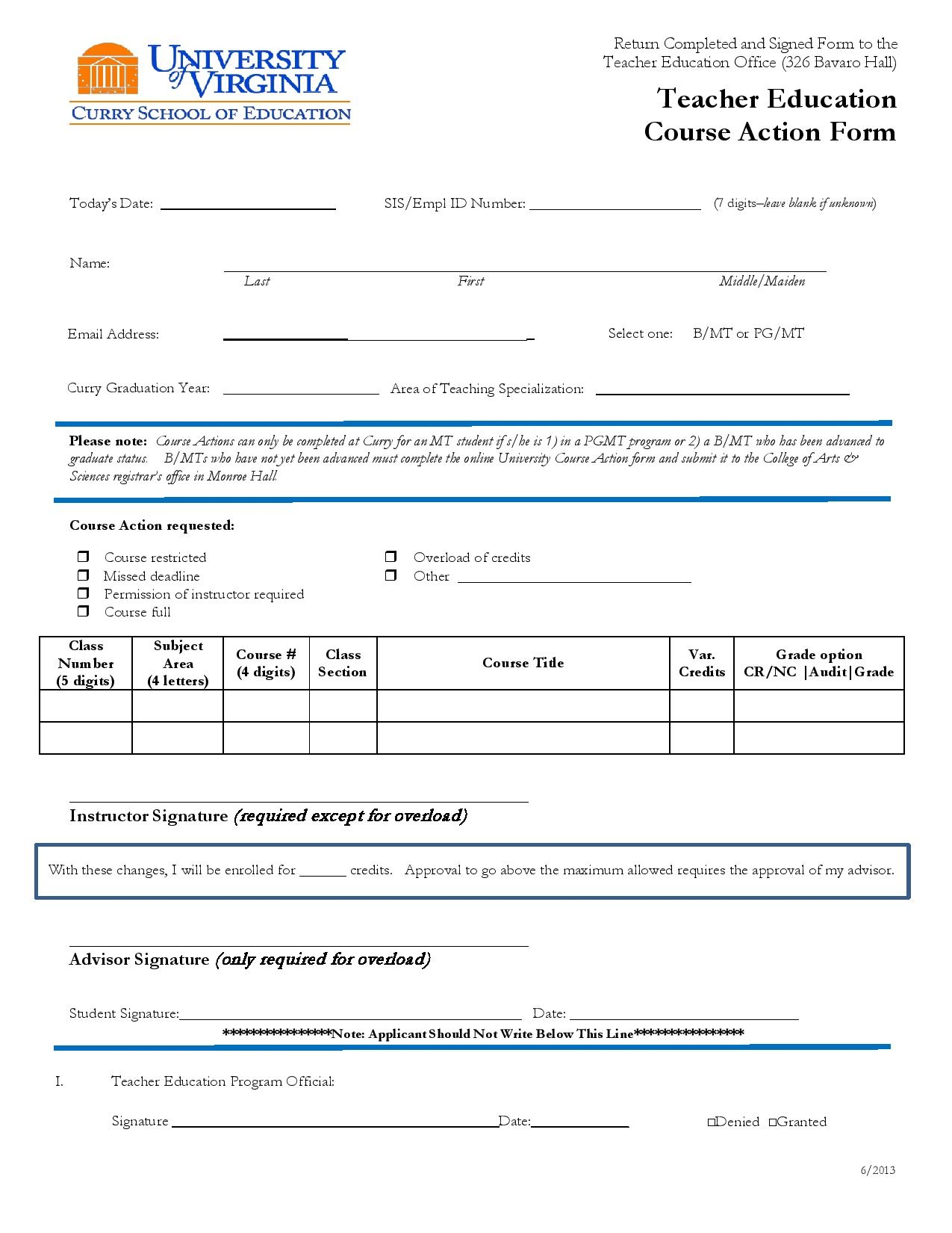 teacher education course action form page 001