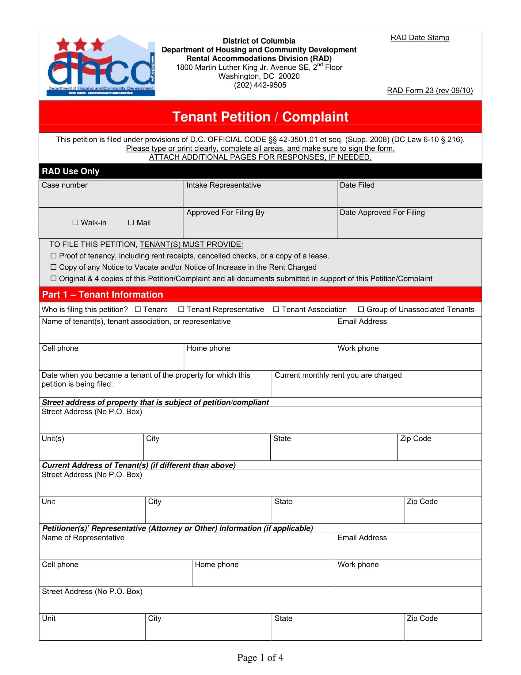 tenant petition complaint form 1