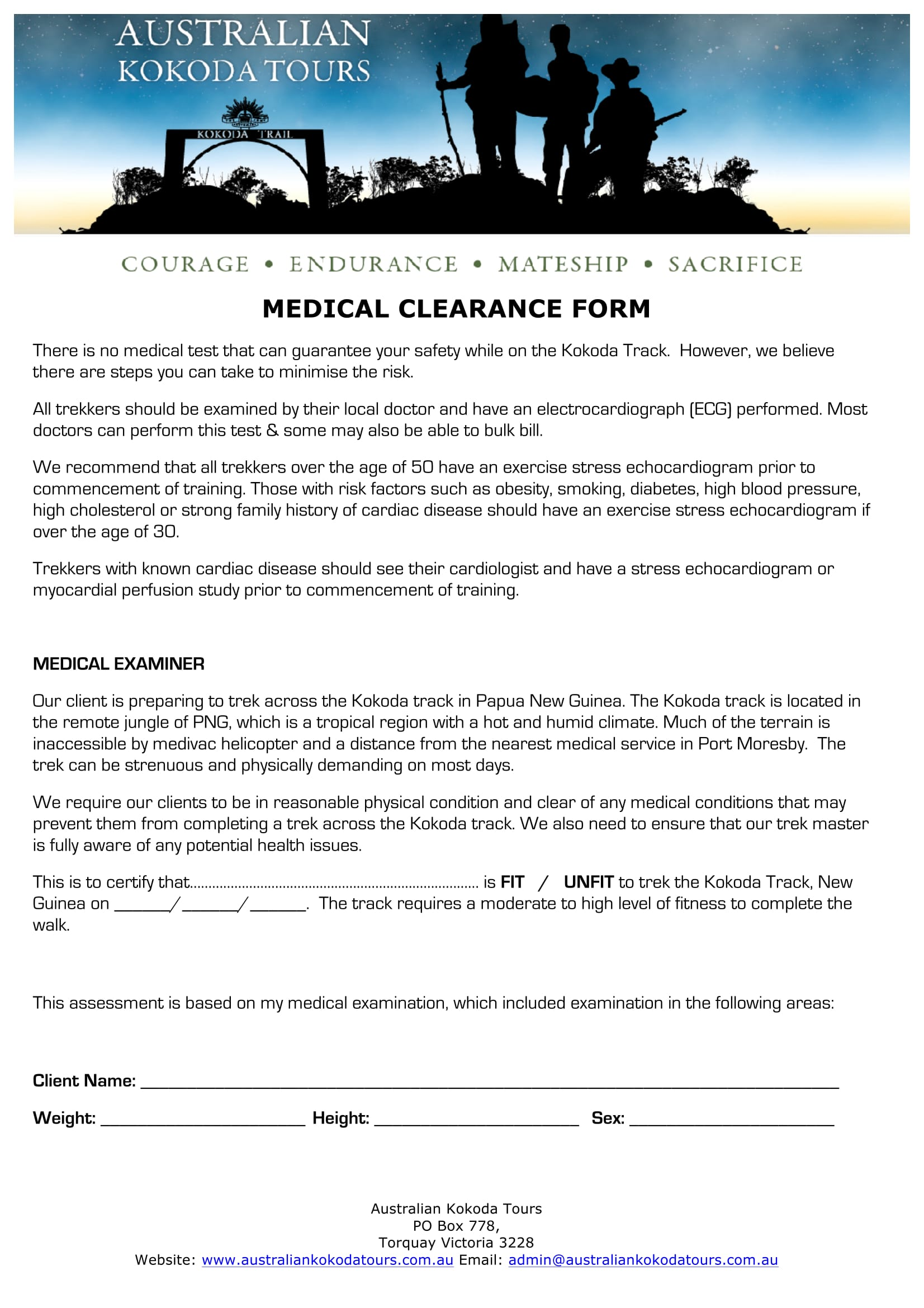 tour medical clearance form 1