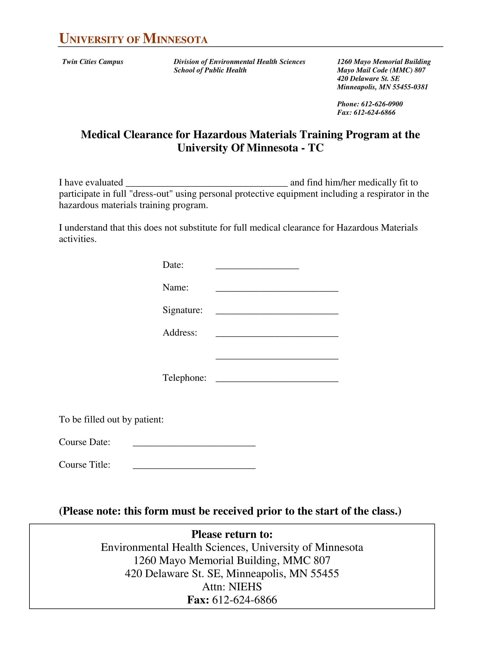 training program medical clearance form 4