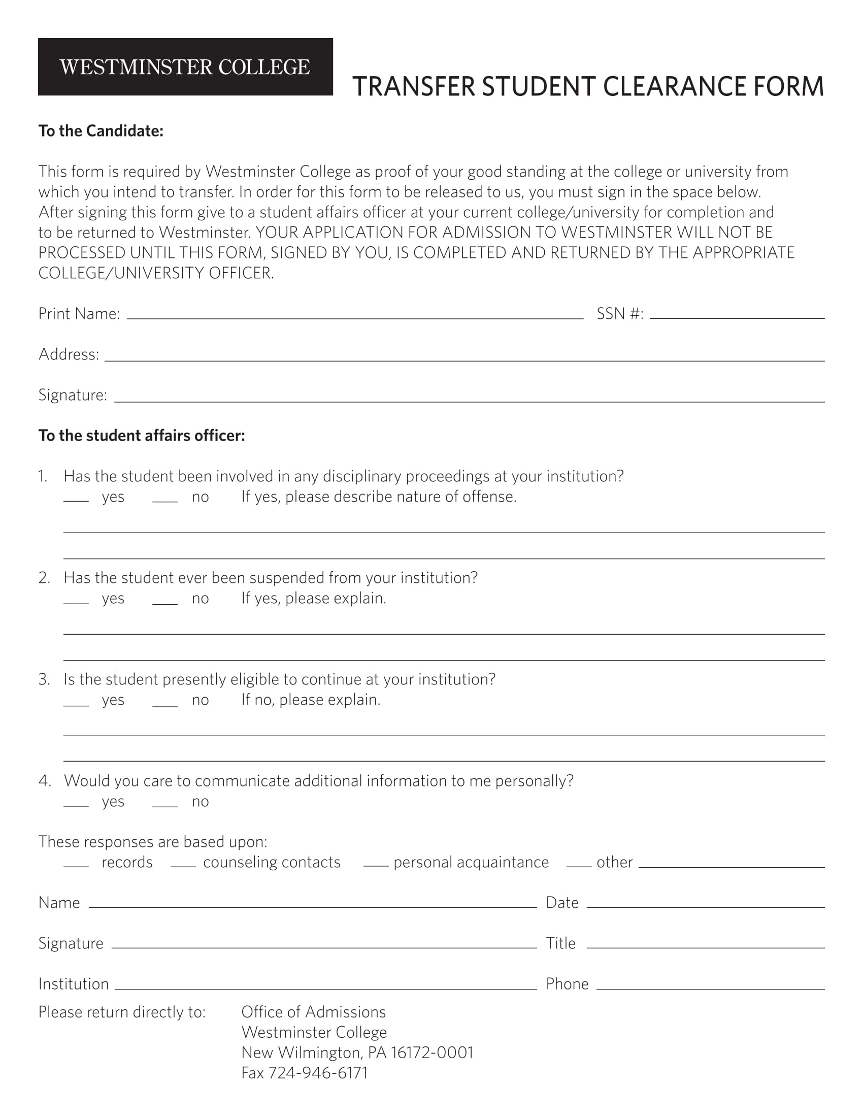 transfer student clearance form 1