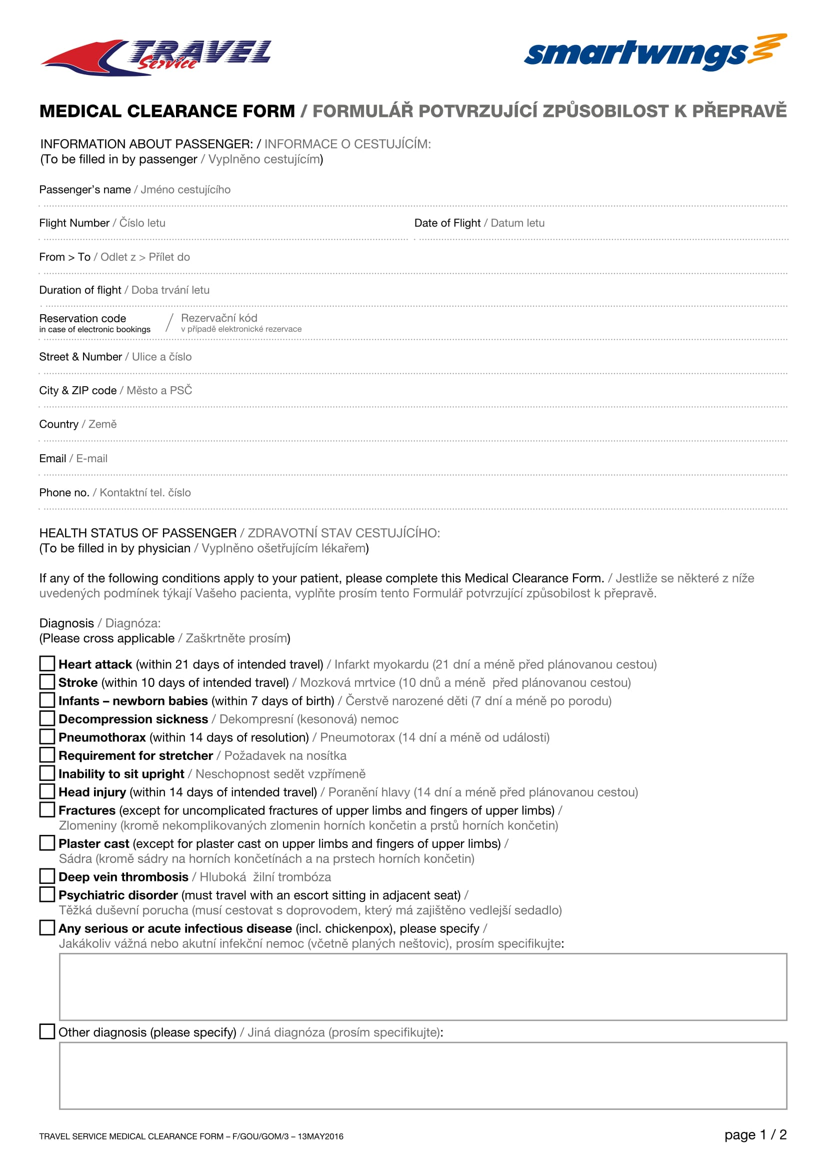 travel service medical clearance form 1