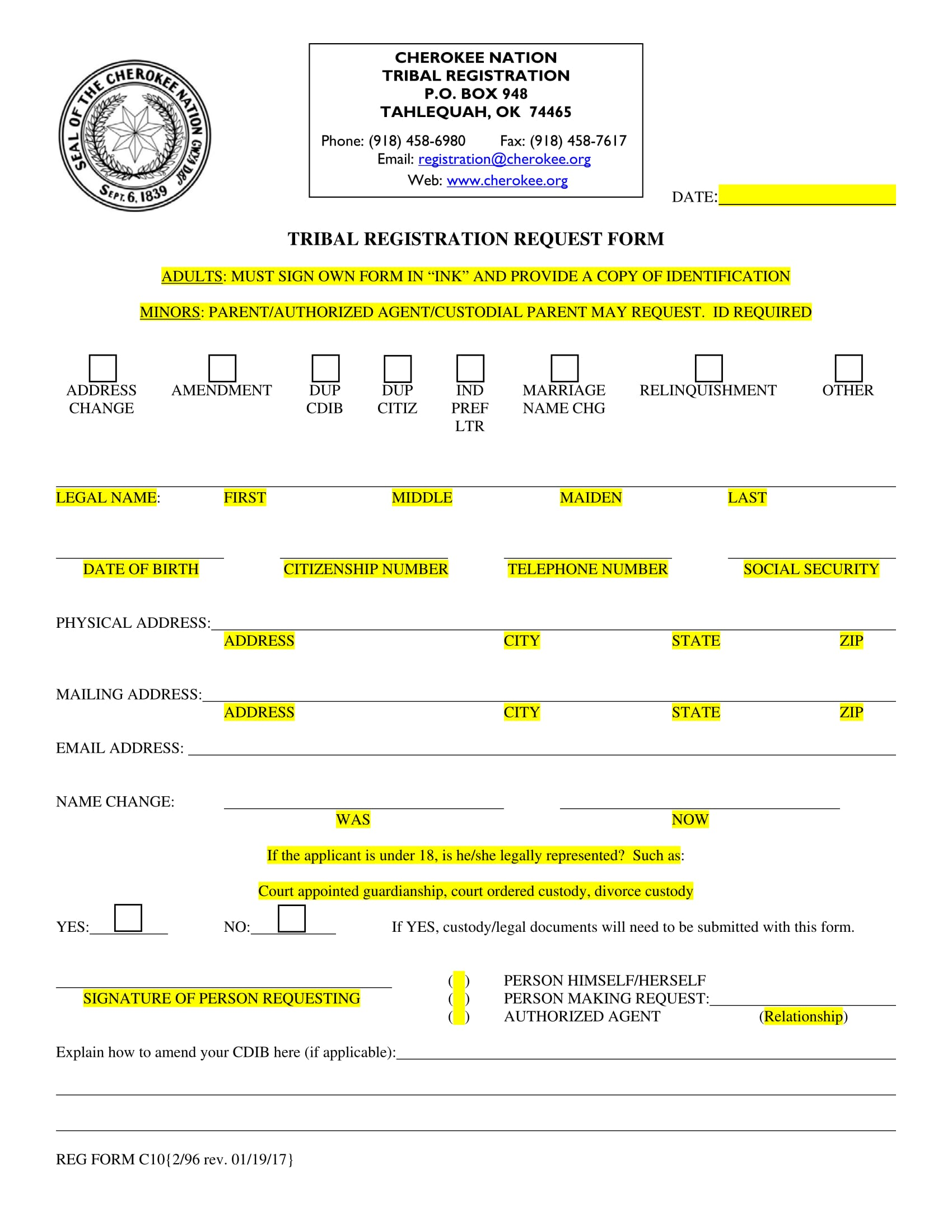 tribal registration request form 1