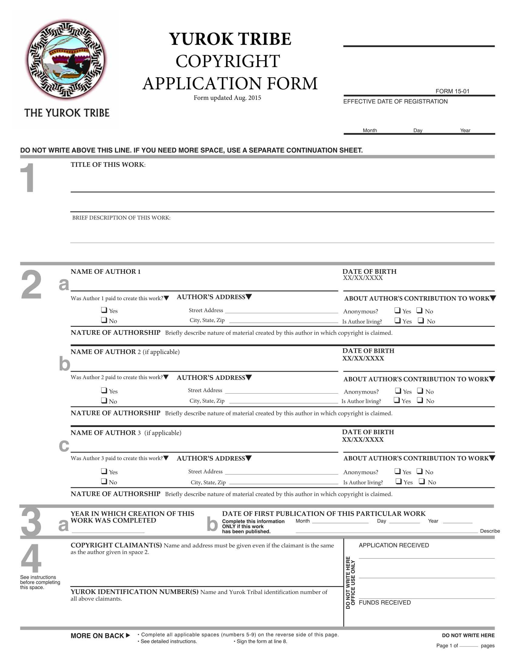 Copyright Registration Form Samples