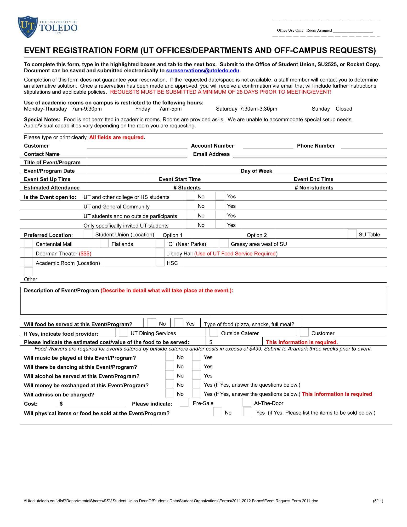 university event registration form 11