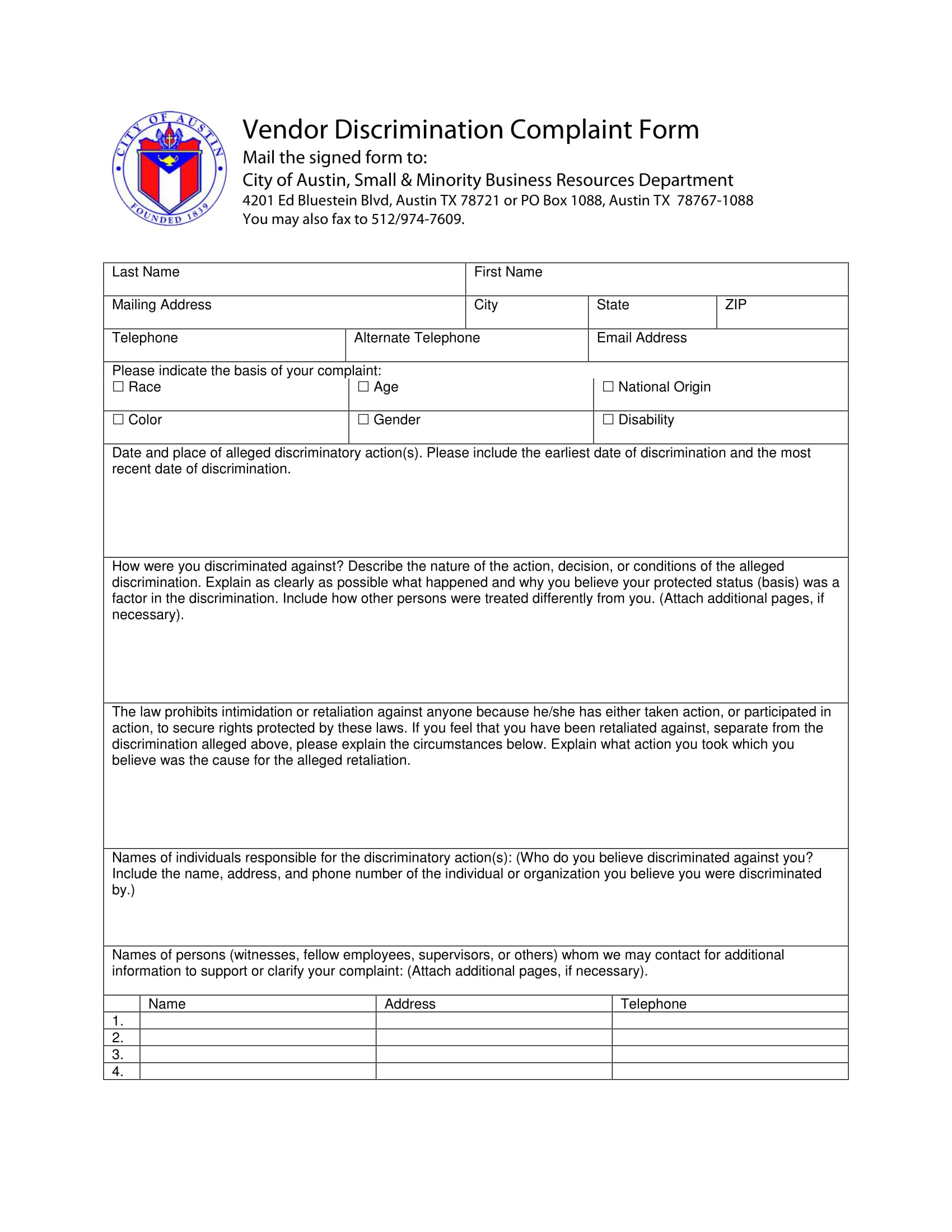 vendor discrimination complaint form 1