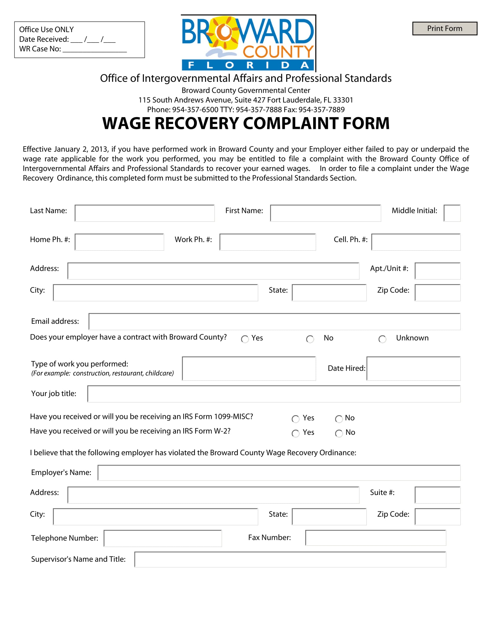 wage recovery complaint form 1