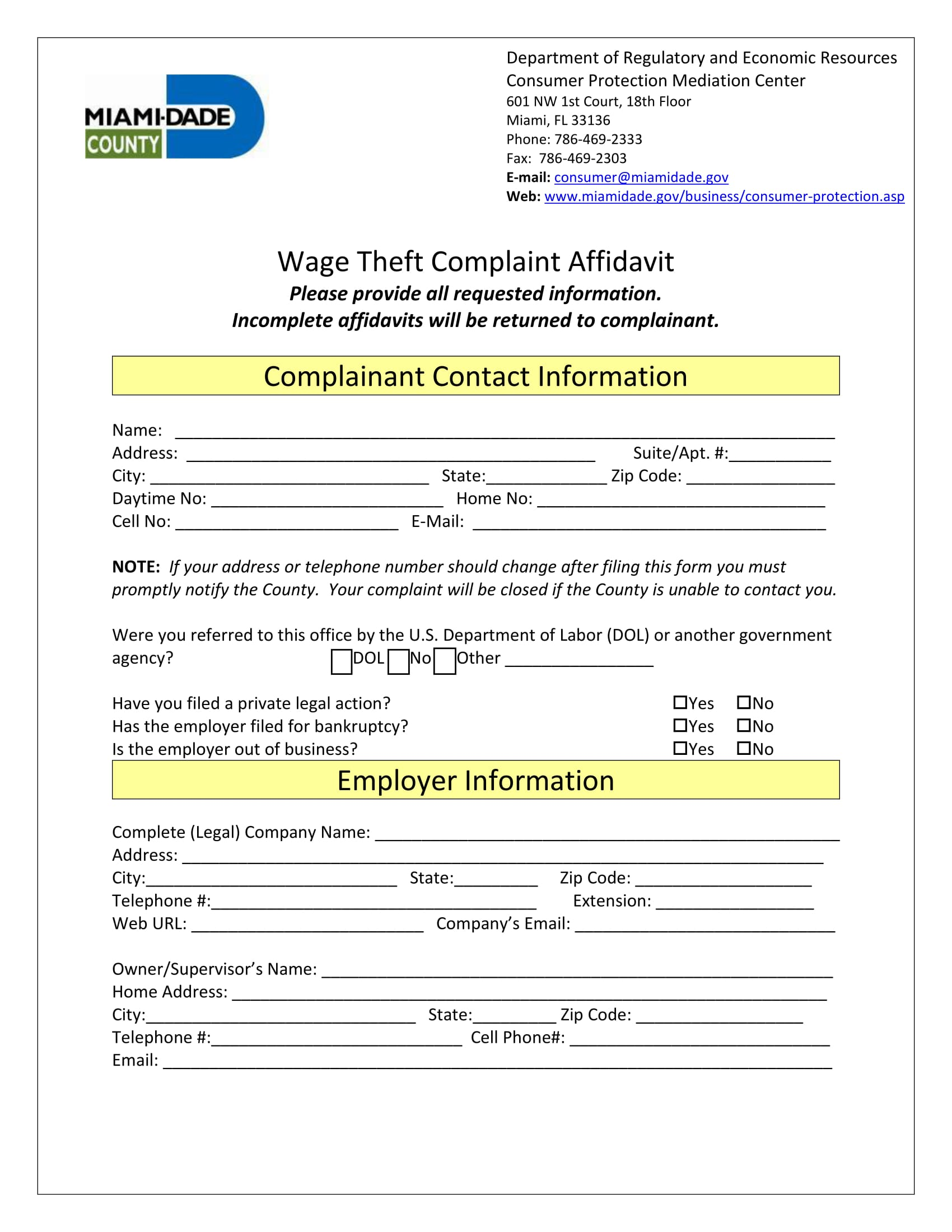 wage theft complaint affidavit form 1