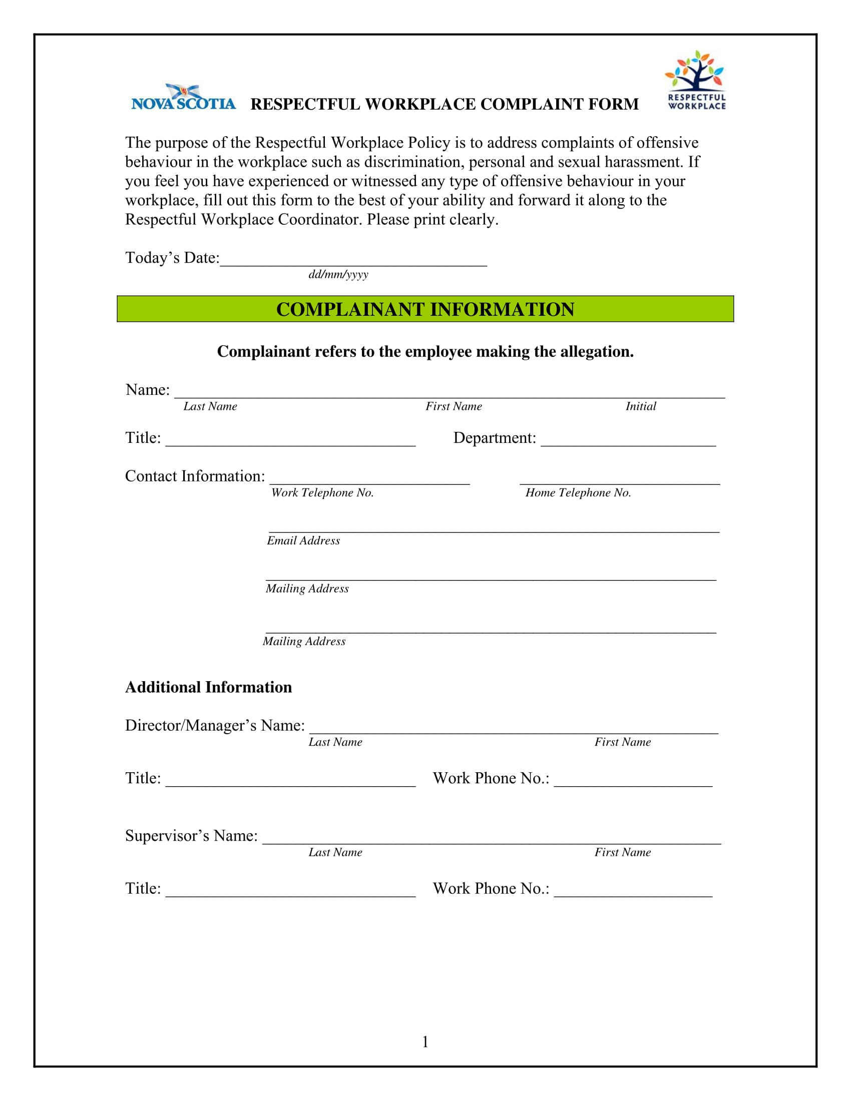 workplace complaint form 1