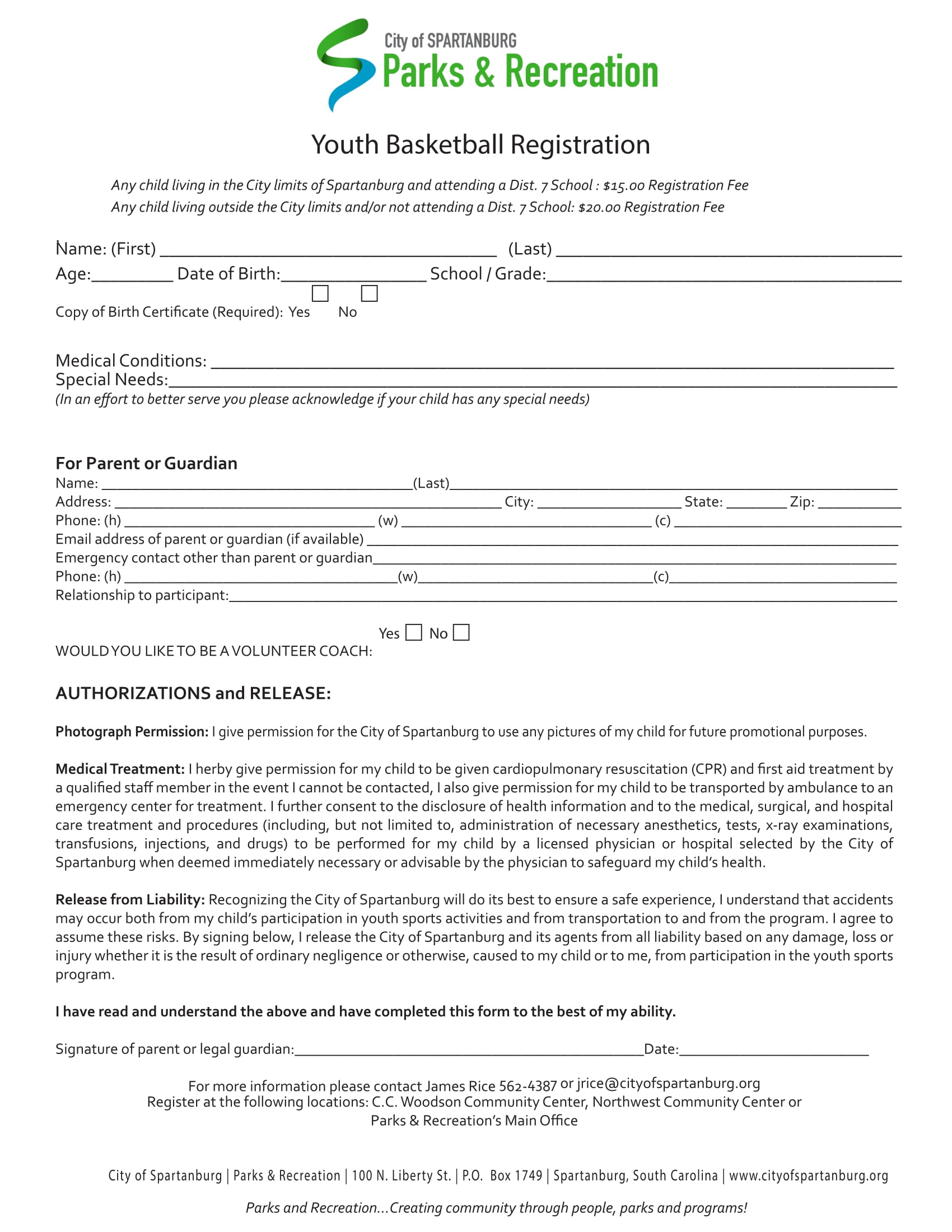 registration forms samples