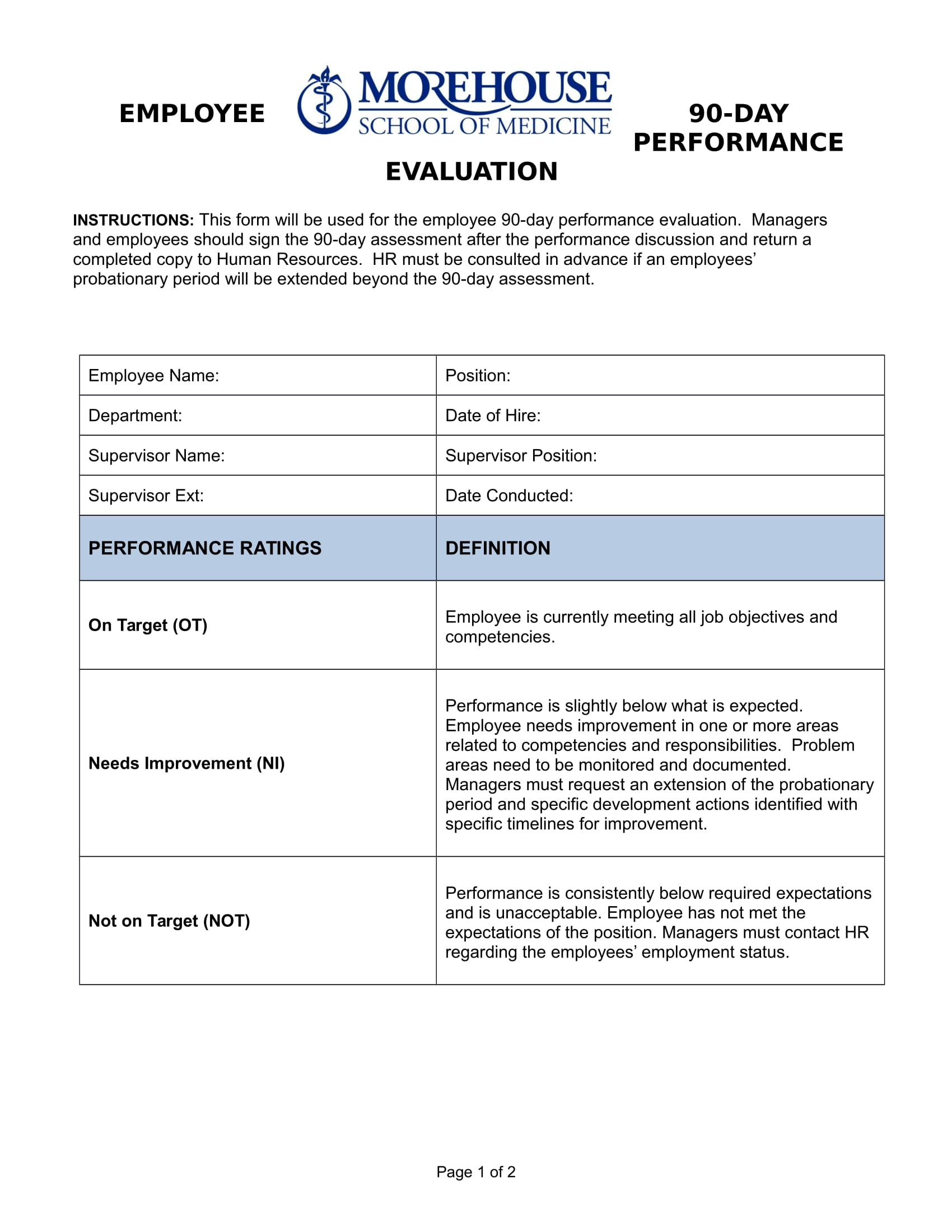 Performance Appraisal Template Word Free Non Objection Letter Free 90 Day  Staff Performance Evaluation Form 1