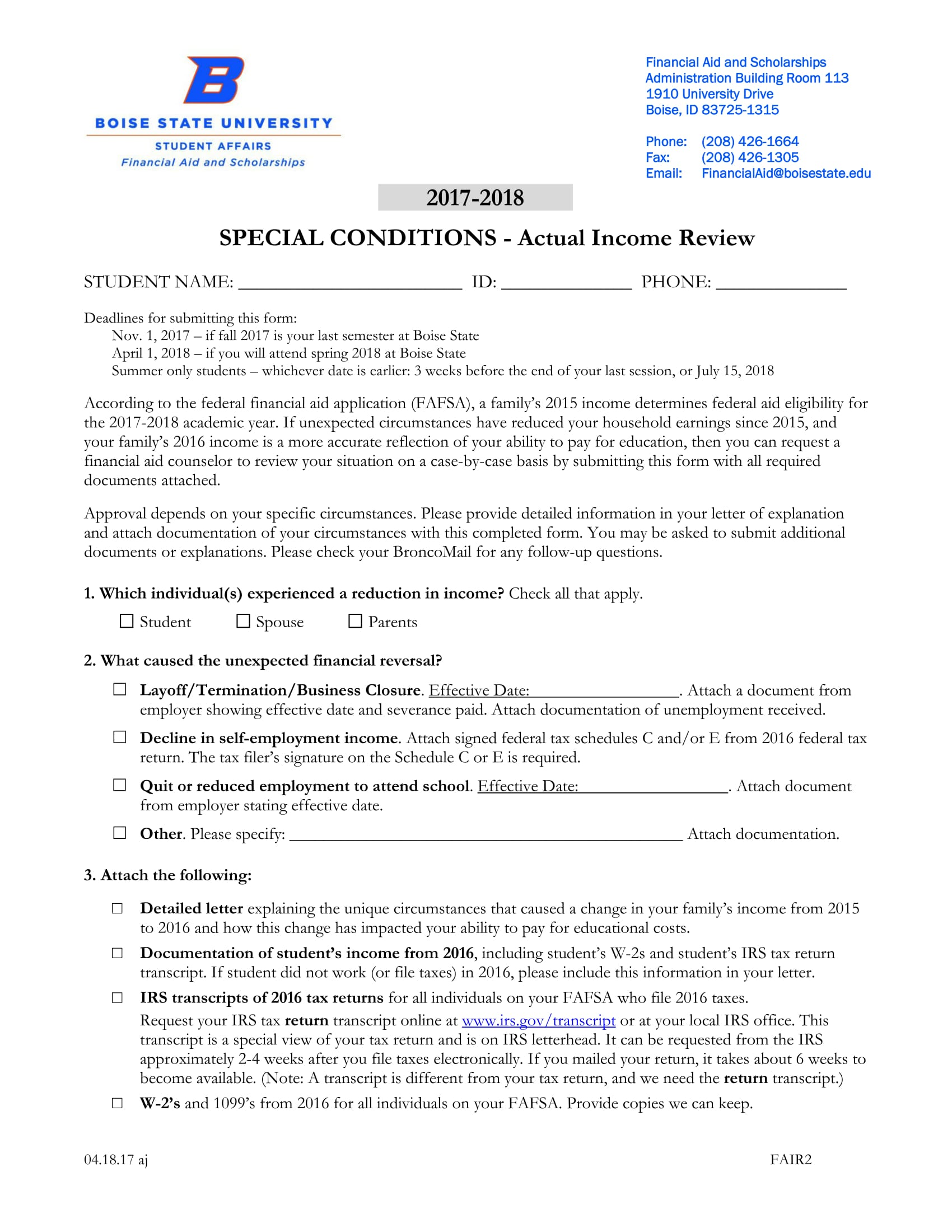 actual income review form 1