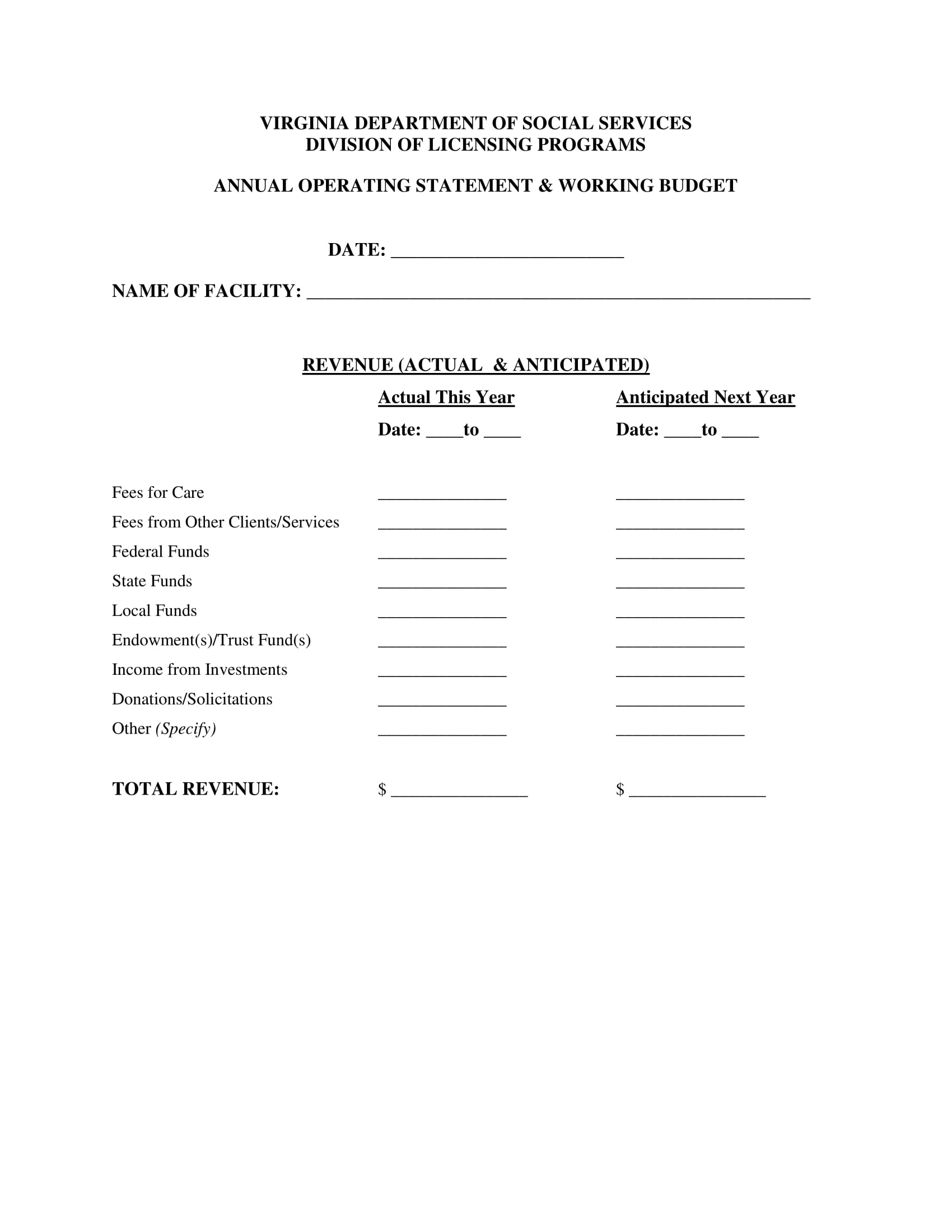 annual operating statement form 6