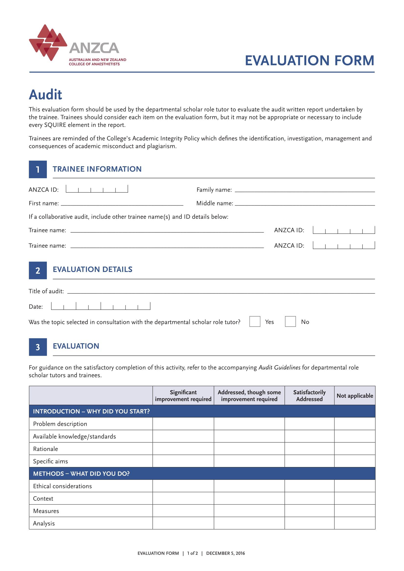 audit trainee evaluation form 1
