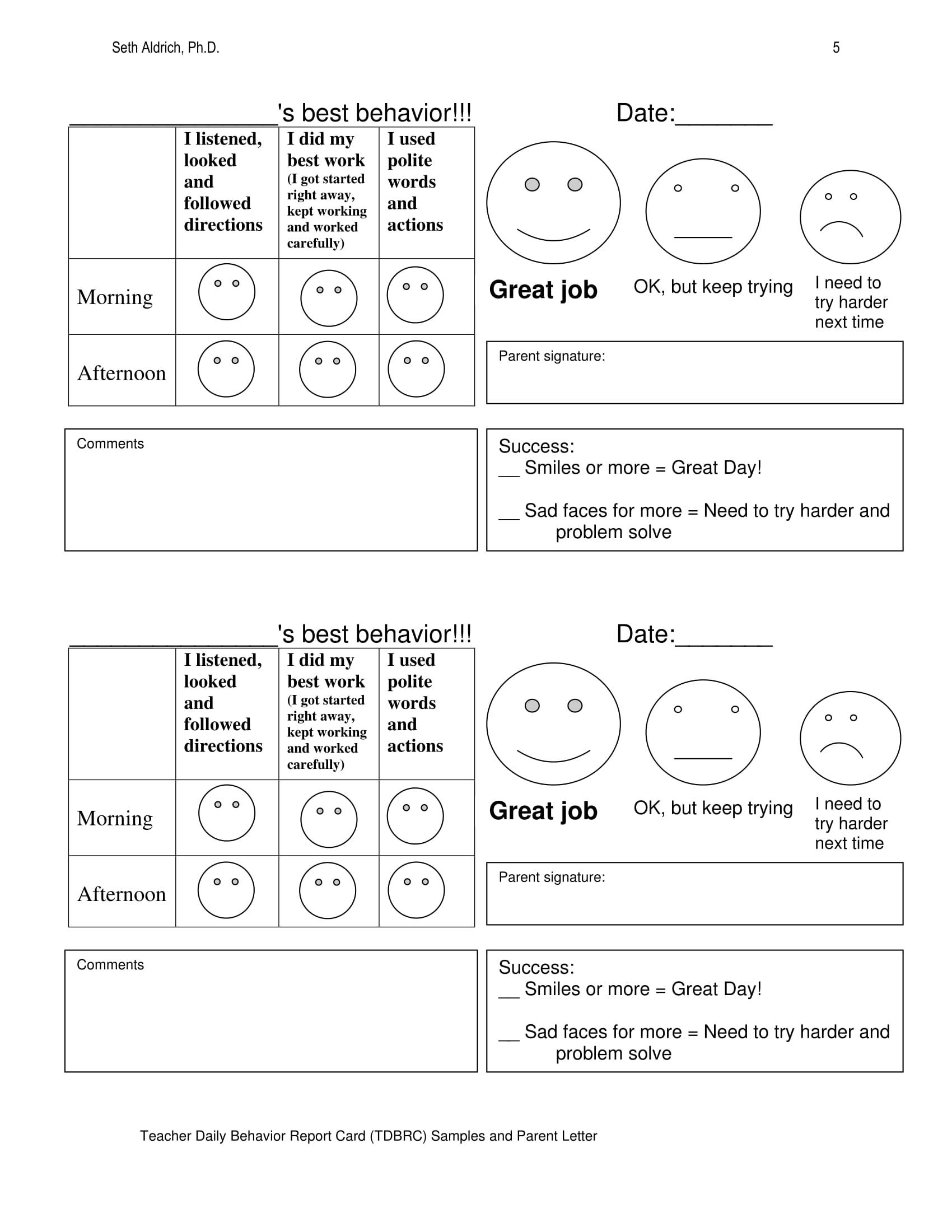 behavior daily report 05