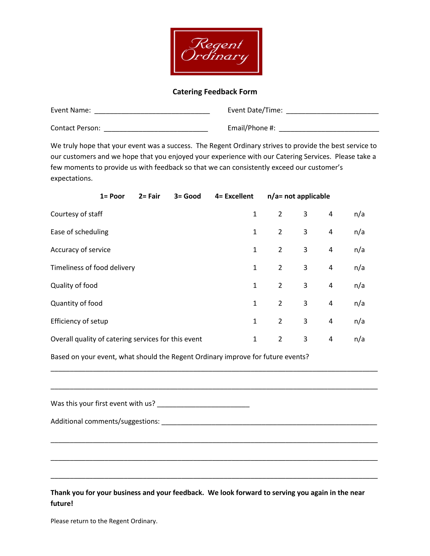 catering service feedback review form 1