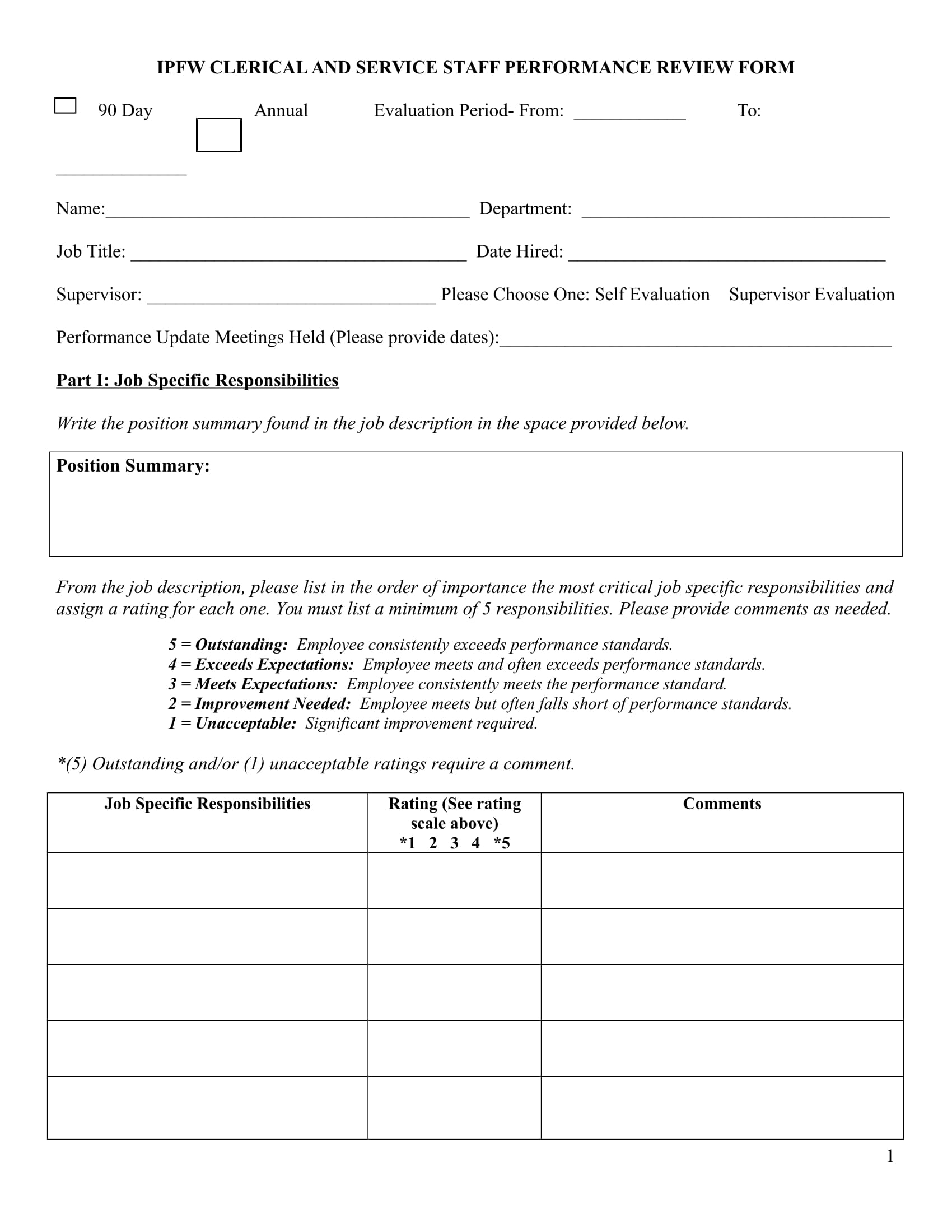 14 review forms for staff for Year end review template