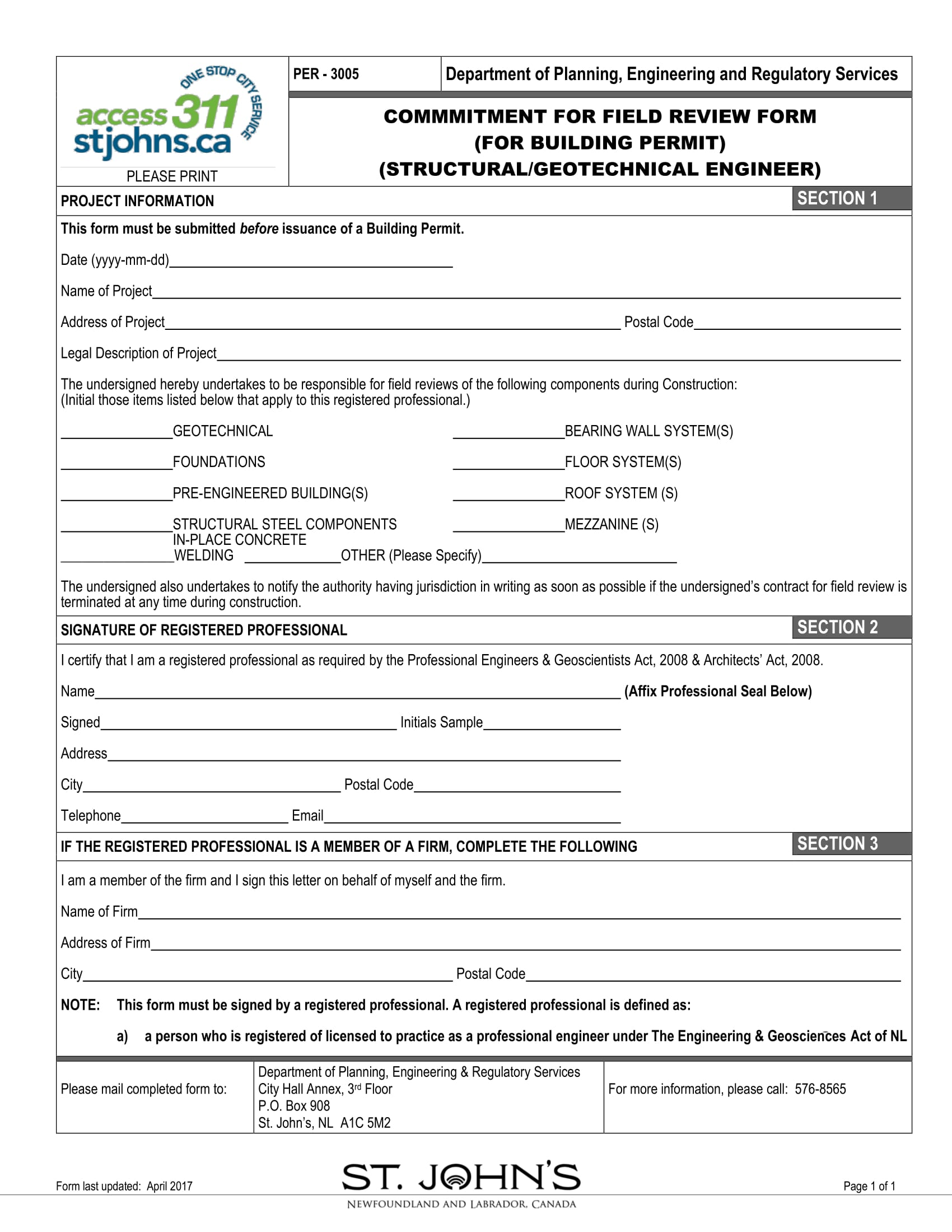 commitment for field review form 1