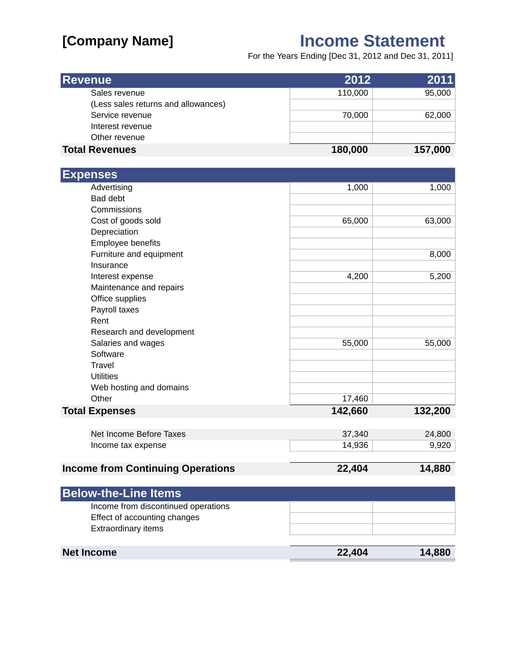 company income statement form 11