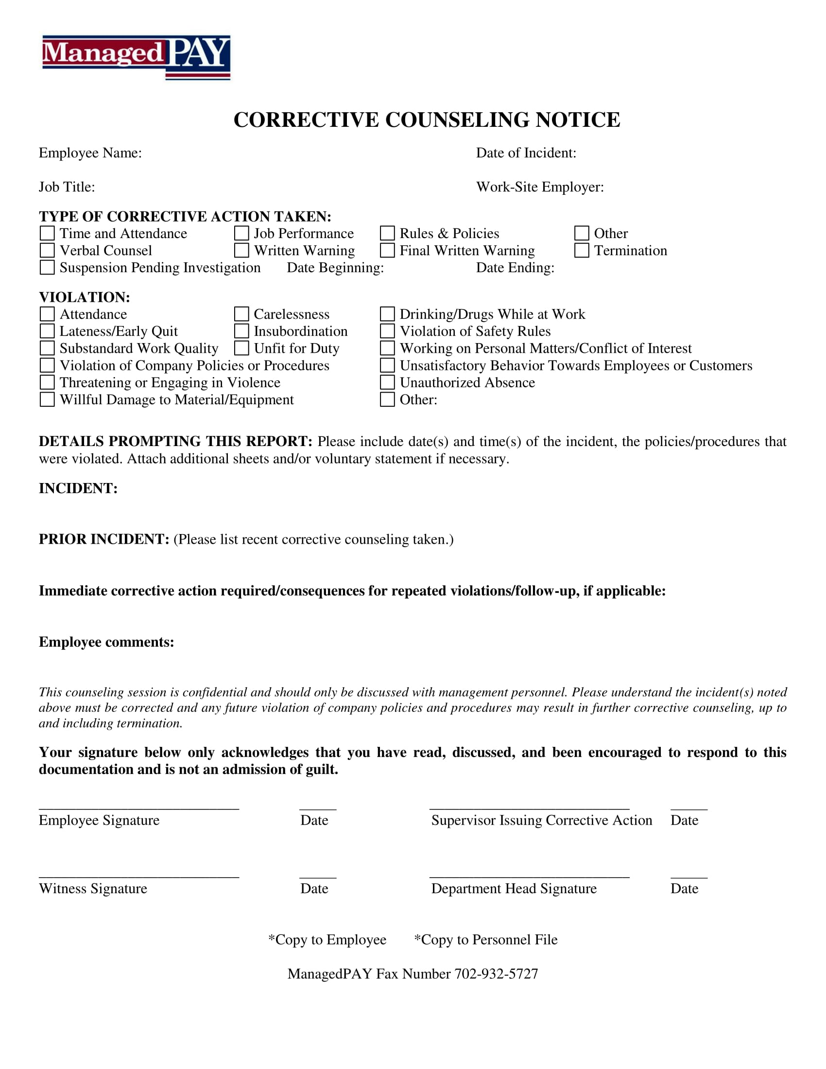 corrective counseling notice form 1