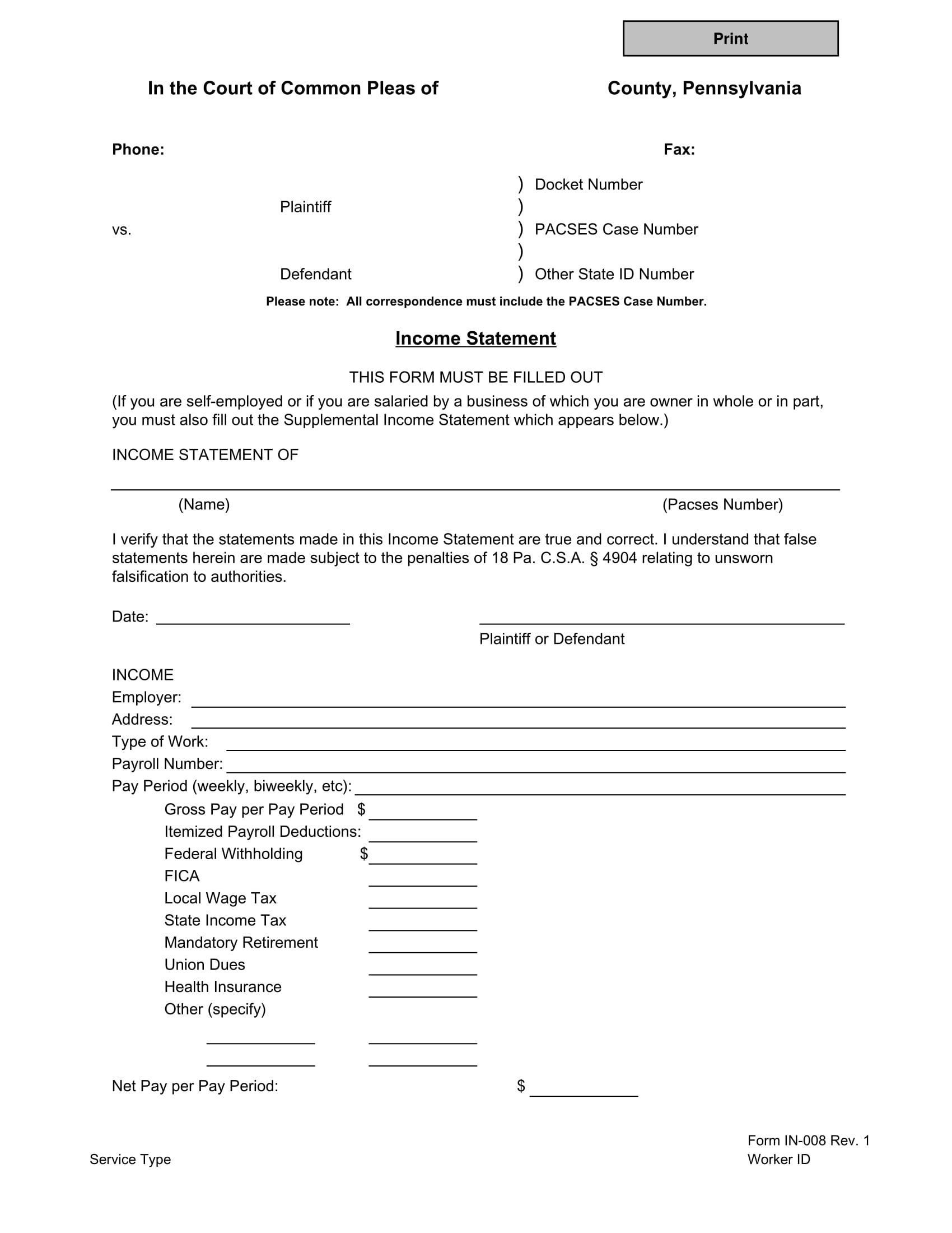 court use income statement form 1