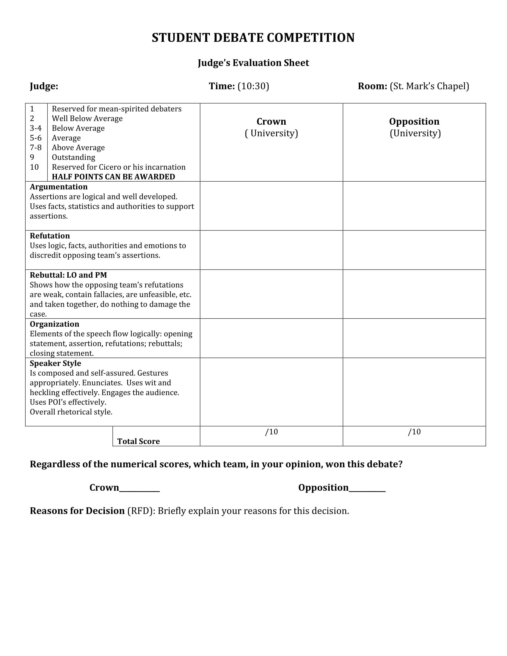 evaluation judging form  FREE 6+ Debate Evaluation Form Samples in PDF | WORD
