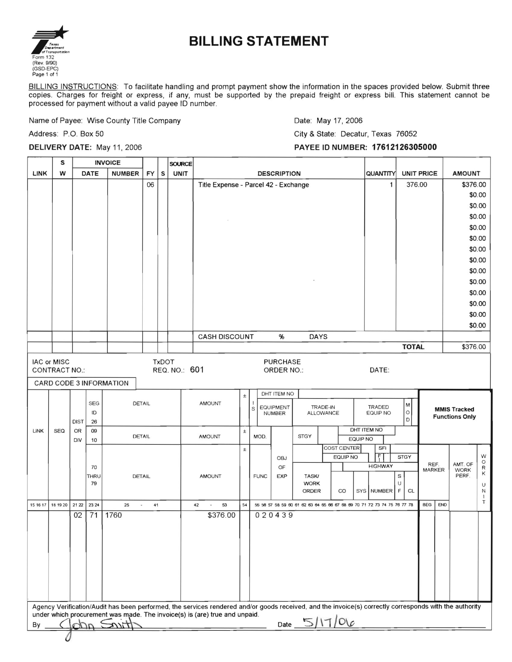 delivery billing statement form 1