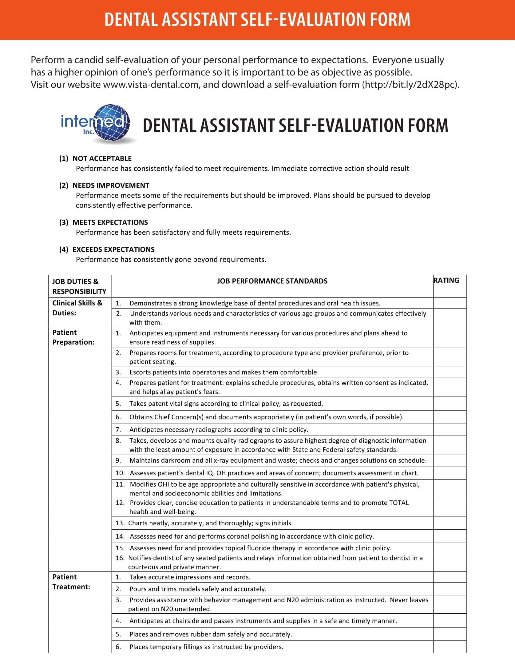 dental assistant self evaluation form 1