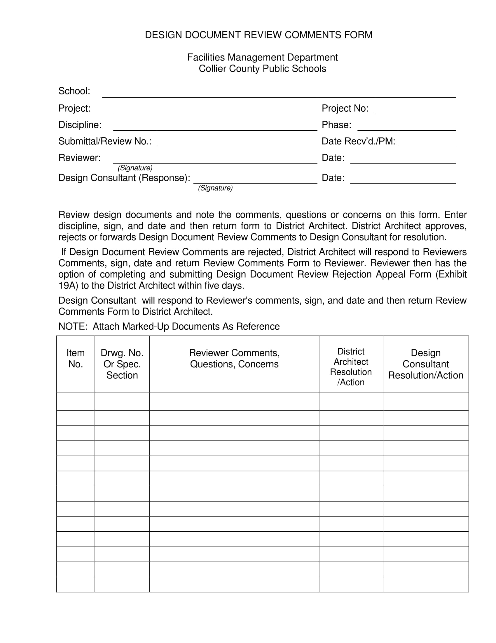 design document review comments form 1