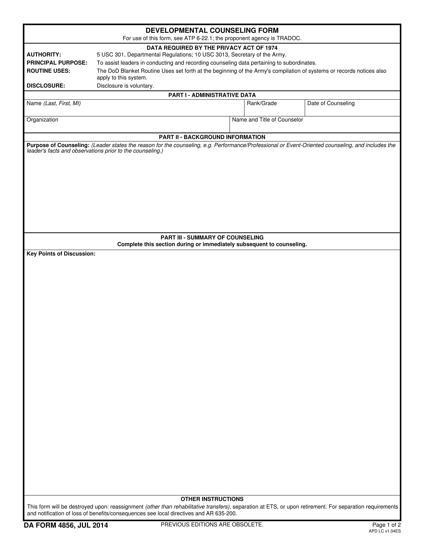 developmental counseling statement form 1